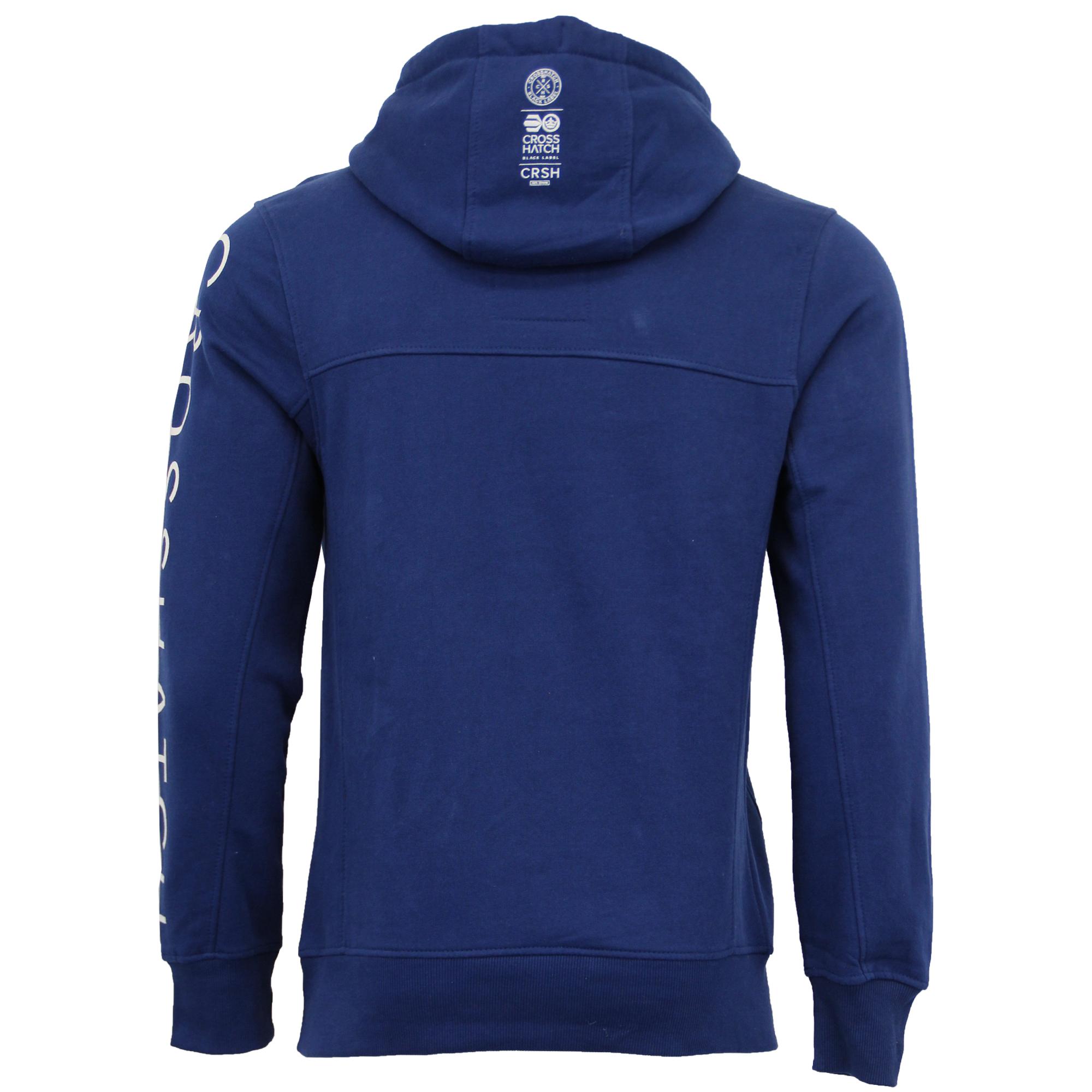 Mens-Sweatshirt-Crosshatch-Hoodie-Top-Embossed-Logo-Print-Sweat-Fleece-Lined-New thumbnail 8
