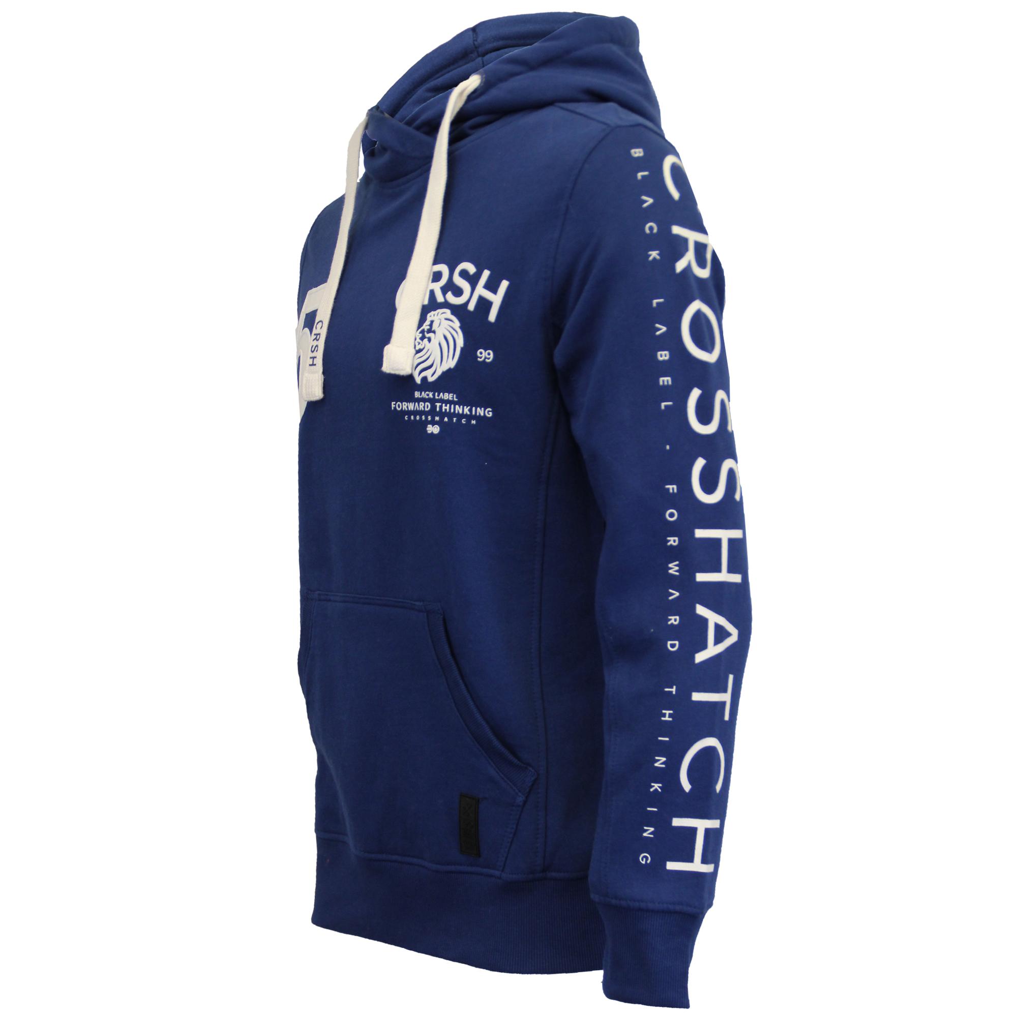 Mens-Sweatshirt-Crosshatch-Hoodie-Top-Embossed-Logo-Print-Sweat-Fleece-Lined-New thumbnail 9