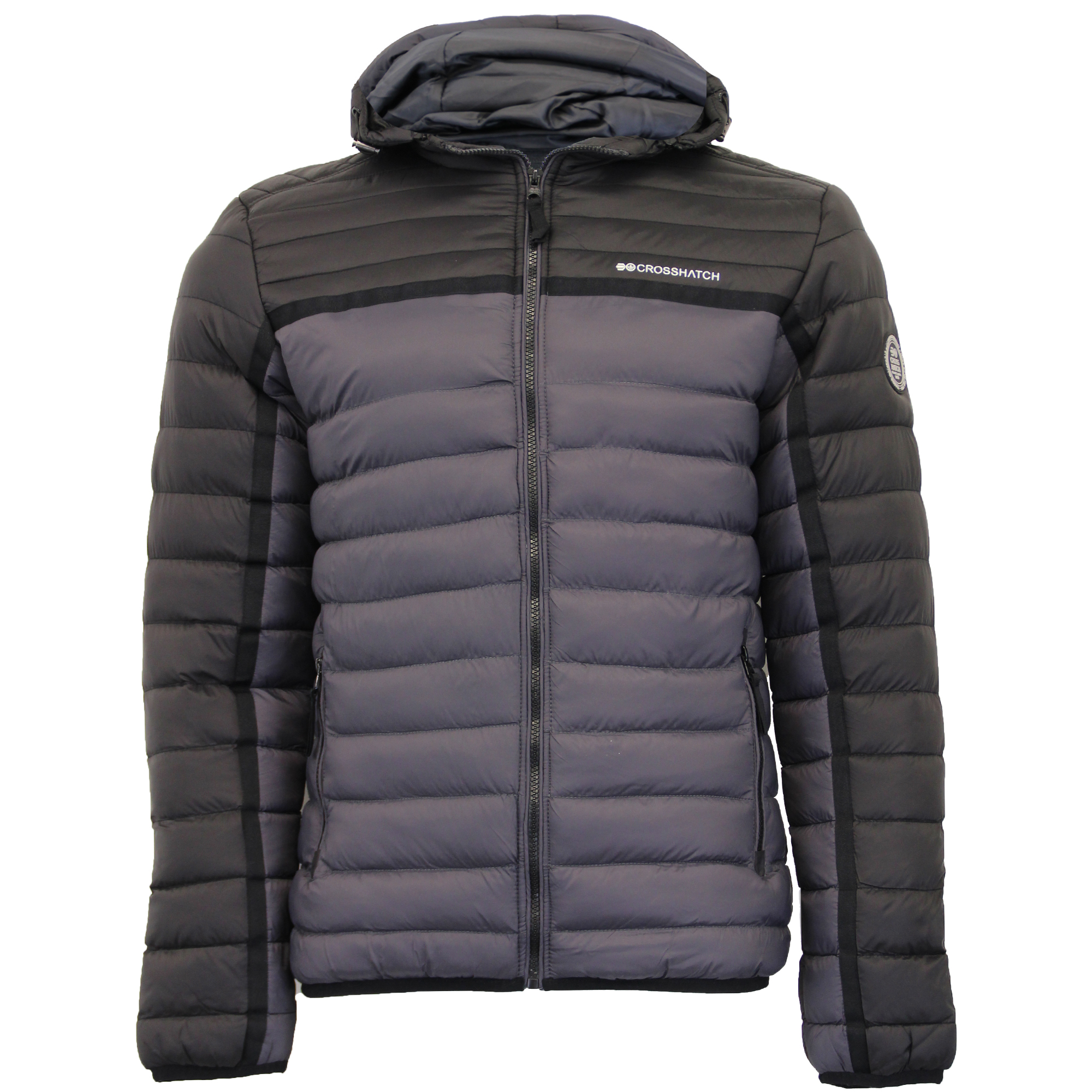 Mens Jacket Crosshatch Coat Padded Wadded Quilted Bubble ...