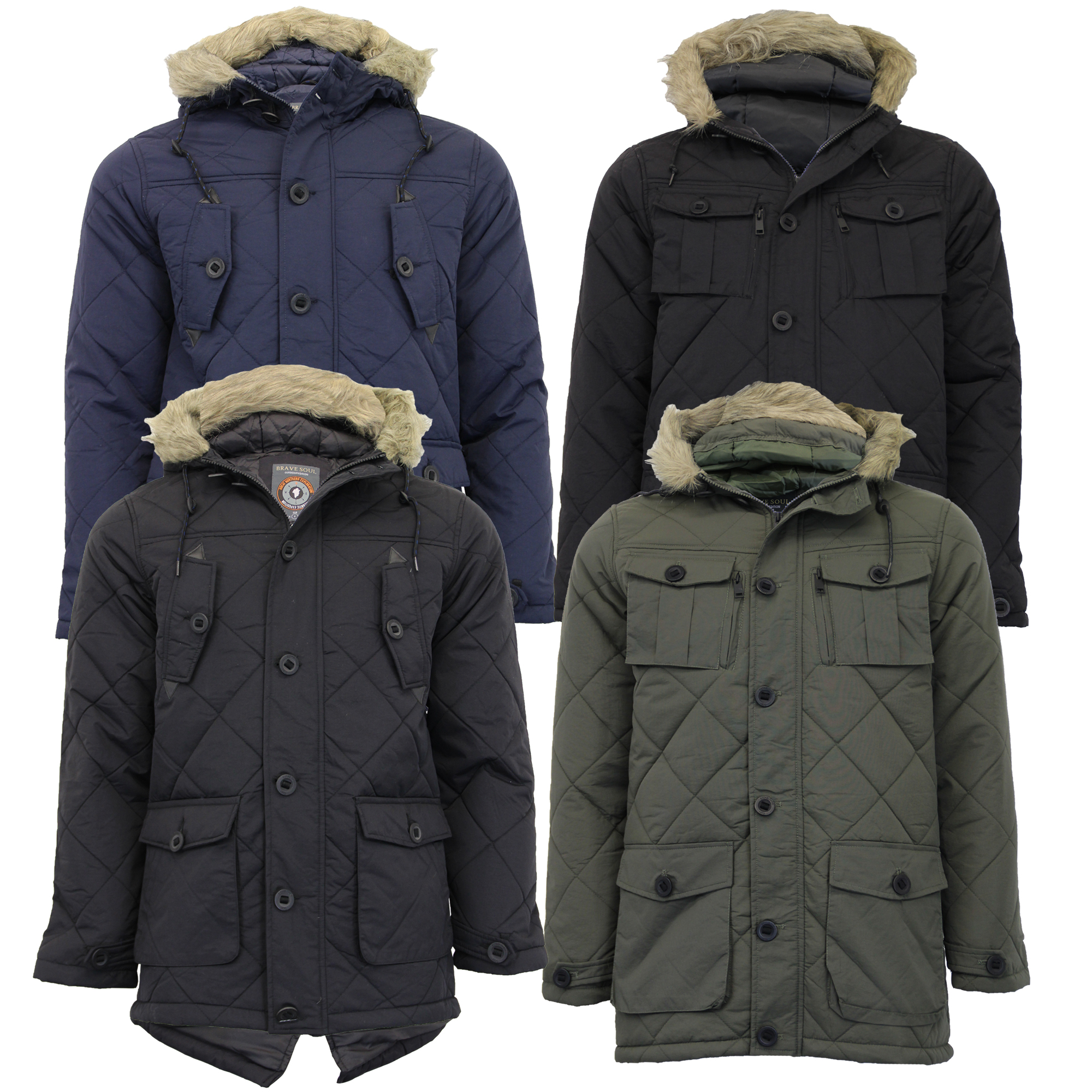 Men's Navy Brave Soul Parka Winter Jacket Fur Lined Hood New With Tags Fishtail
