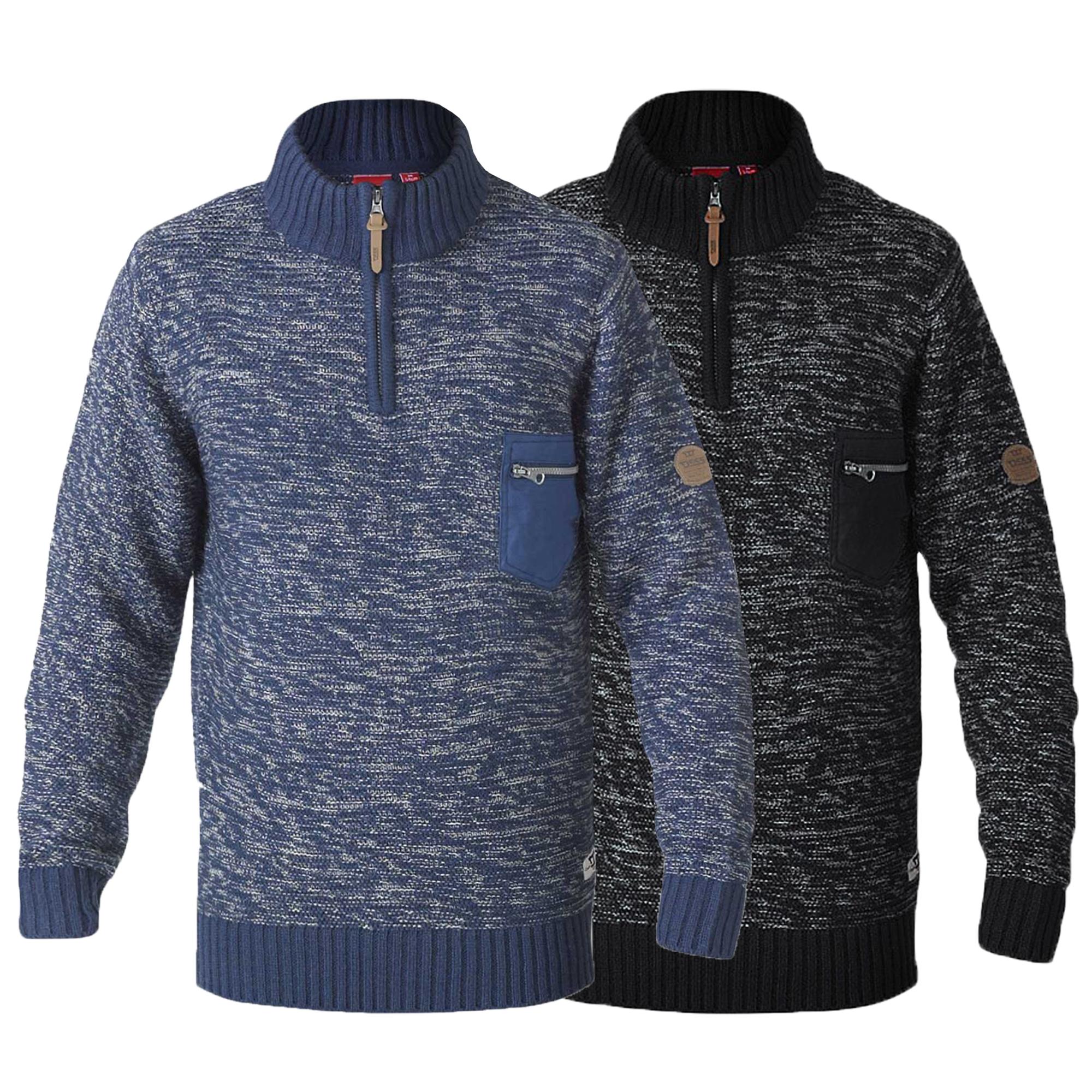 Mens-Jumper-D555-Duke-Big-King-Size-Knitted-Sweater-Pullover-Zip-Top-Winter-Warm thumbnail 3