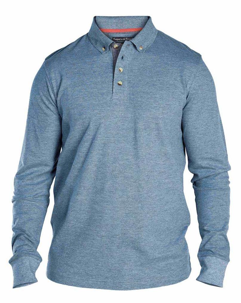 Mens-Top-D555-Duke-Big-King-Sizes-Long-Sleeved-Pique-Polo-T-Shirt-Collared-New thumbnail 4