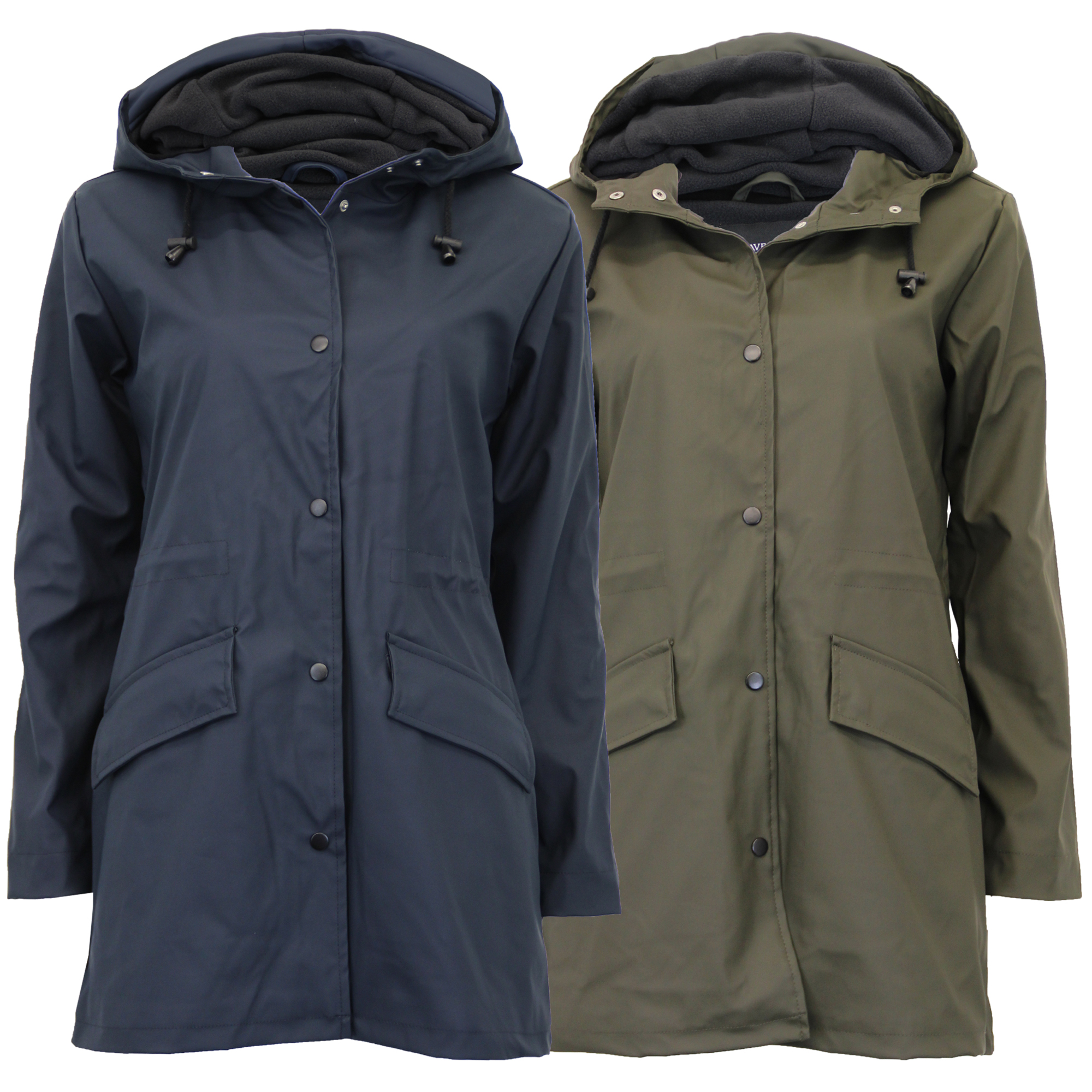 abf5f034f Details about Ladies Rain Coat Brave Soul Womens PU PVC Long Hoodie Jacket  Fleece Lined Winter