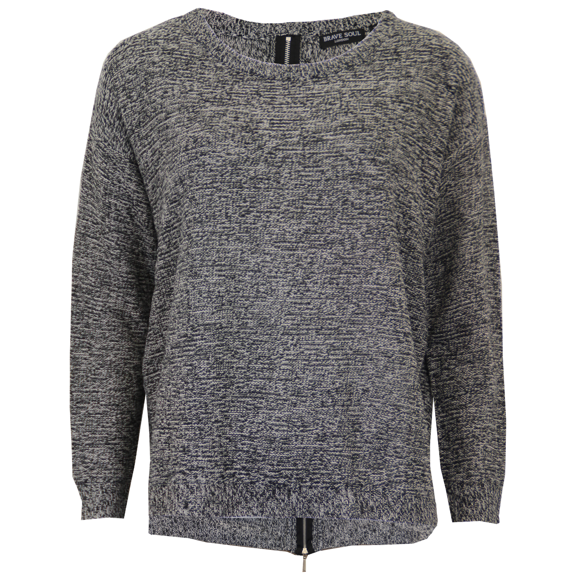 db9a8376a65 Details about Ladies Jumper Brave Soul Womens Knitted Sweater High Low Hem  Zip Baggy Winter
