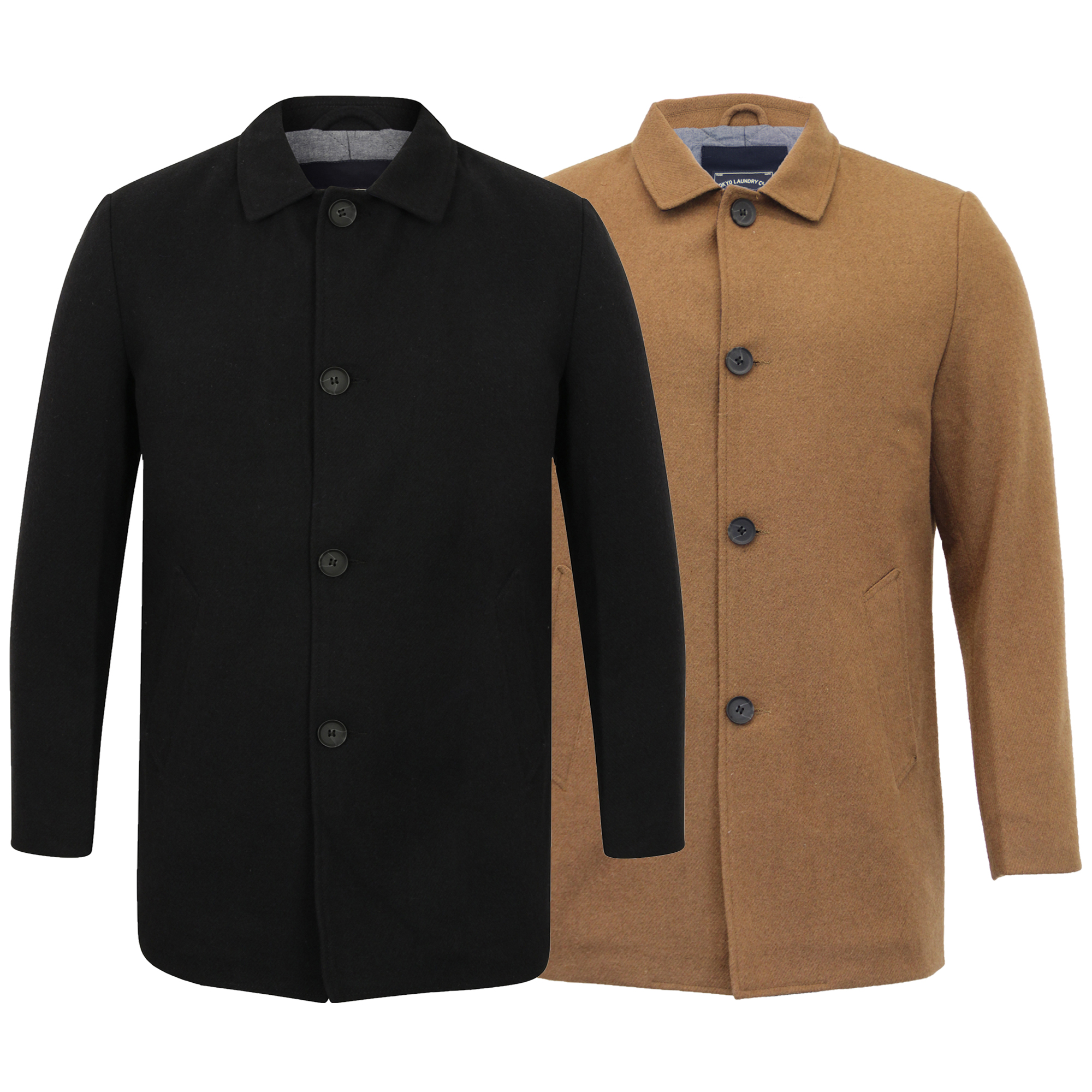 581e68c186ff Mens Wool Blend Jacket Tokyo Laundry Trench Coat Collared Button ...