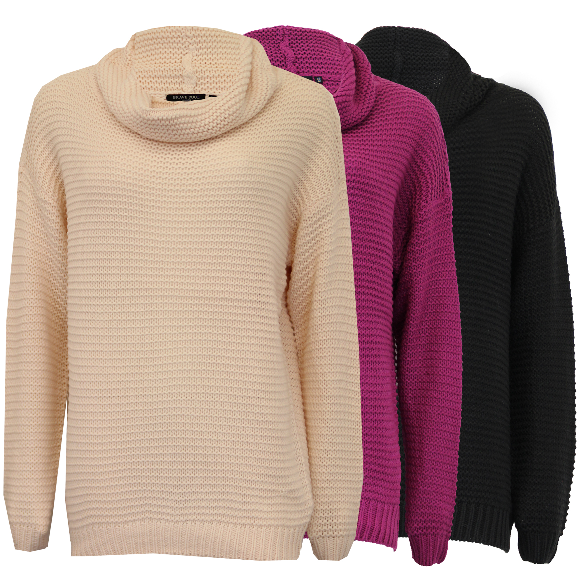 b80927f6aa2 Ladies Jumper Brave Soul Womens Cable Knitted Polo Turtle Roll Neck ...