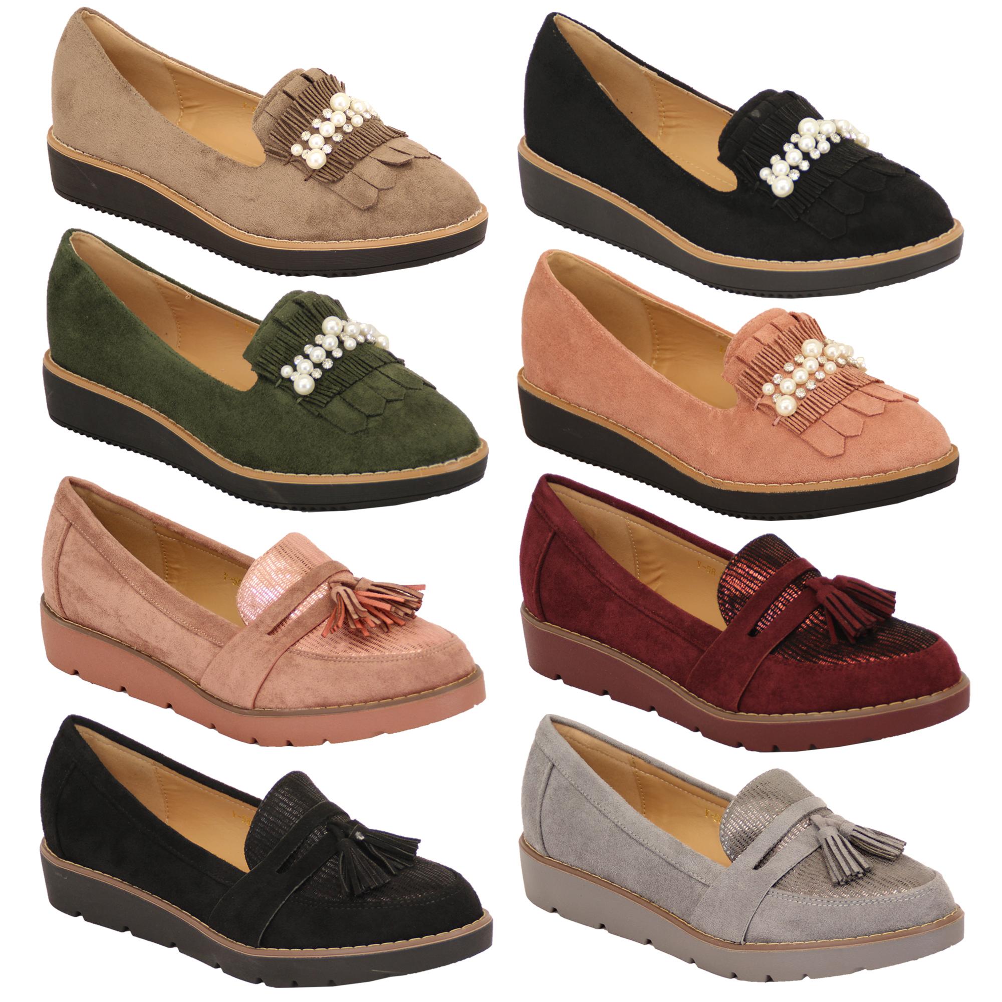 1694d8c8955 Ladies Suede Look Loafers Vintage Shoes Womens Wedge Slip On Tassel ...