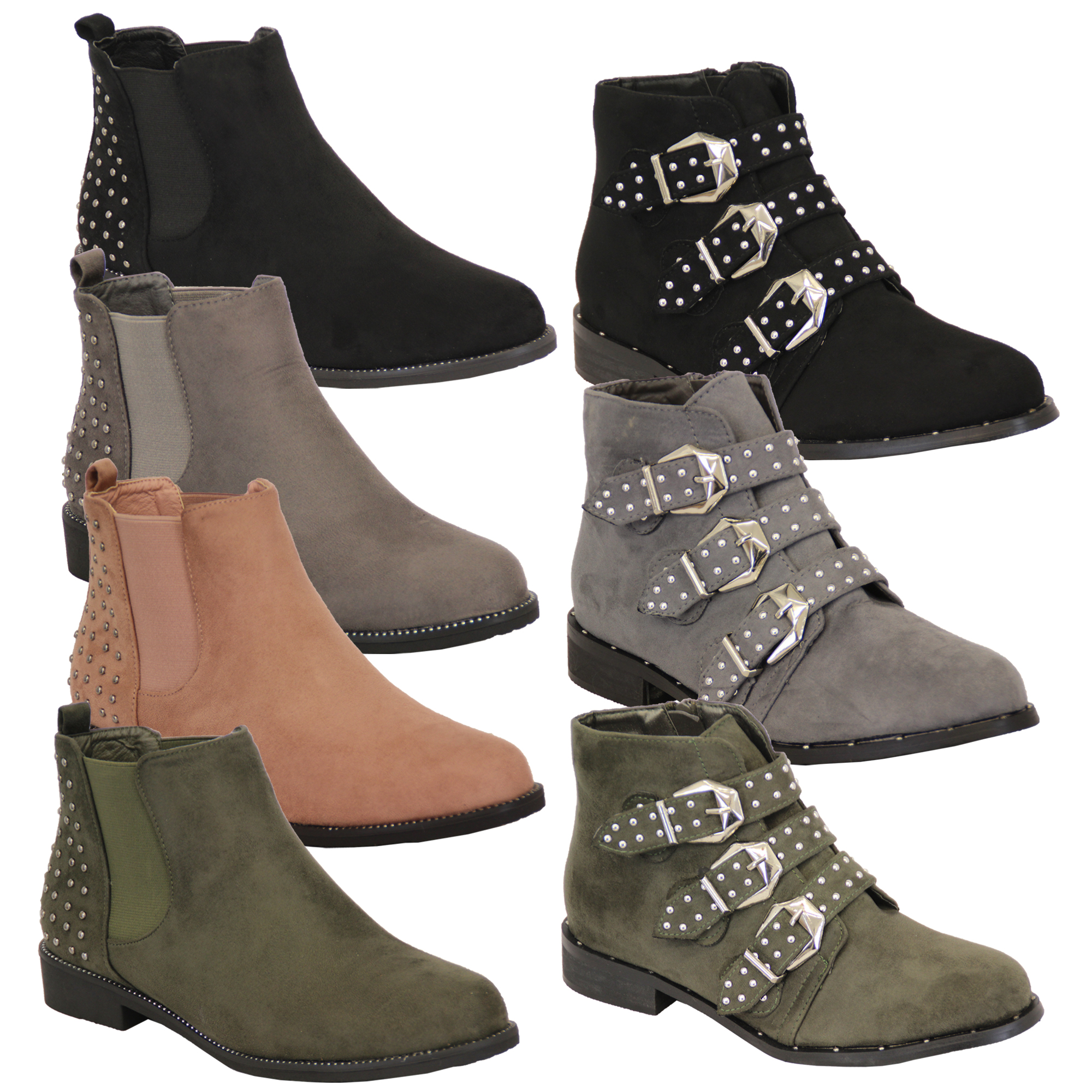 Ladies-Chelsea-Biker-Boots-Womens-Suede-Look-Studded-High-Ankle-Zip-Buckle-Shoes thumbnail 22