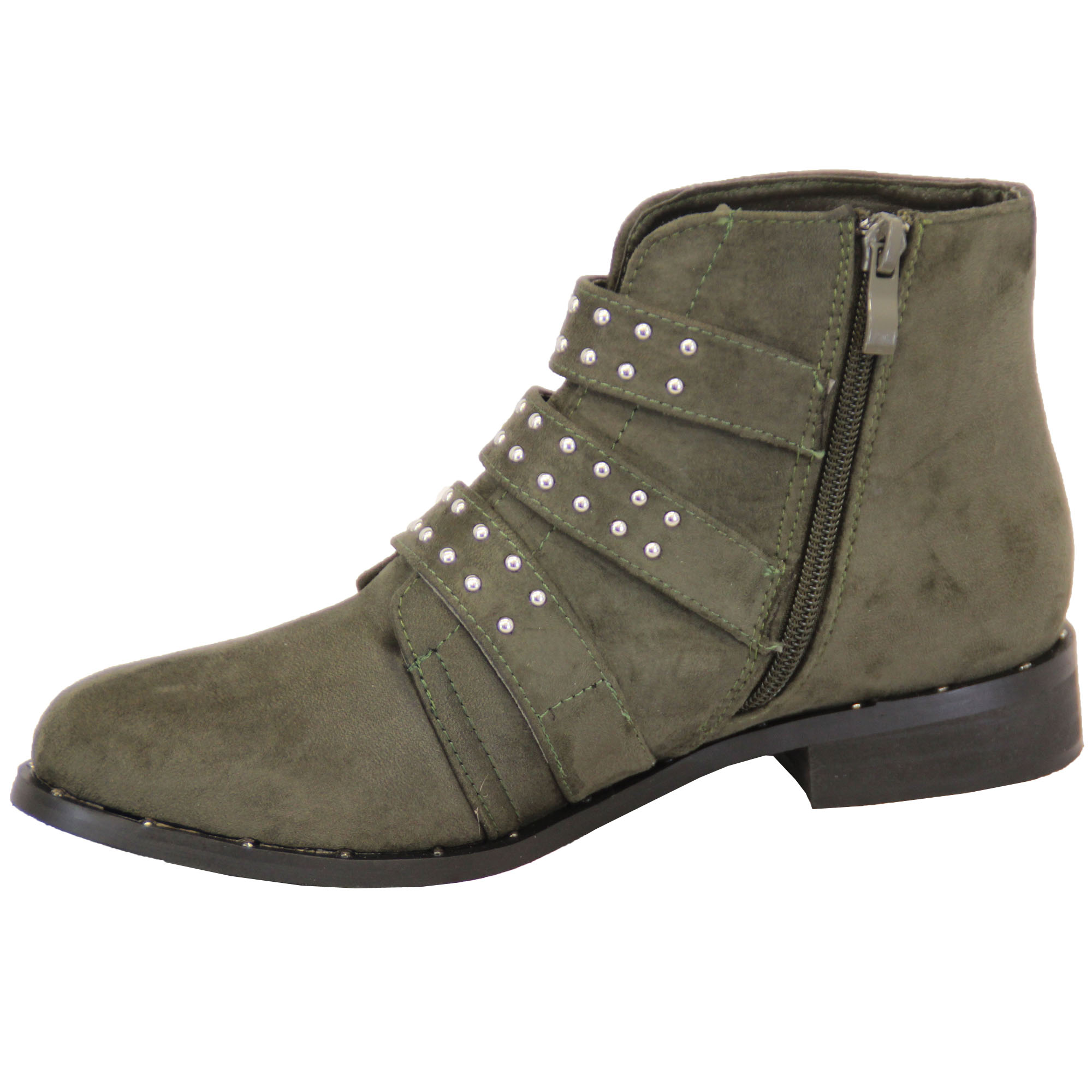 Ladies-Chelsea-Biker-Boots-Womens-Suede-Look-Studded-High-Ankle-Zip-Buckle-Shoes thumbnail 12