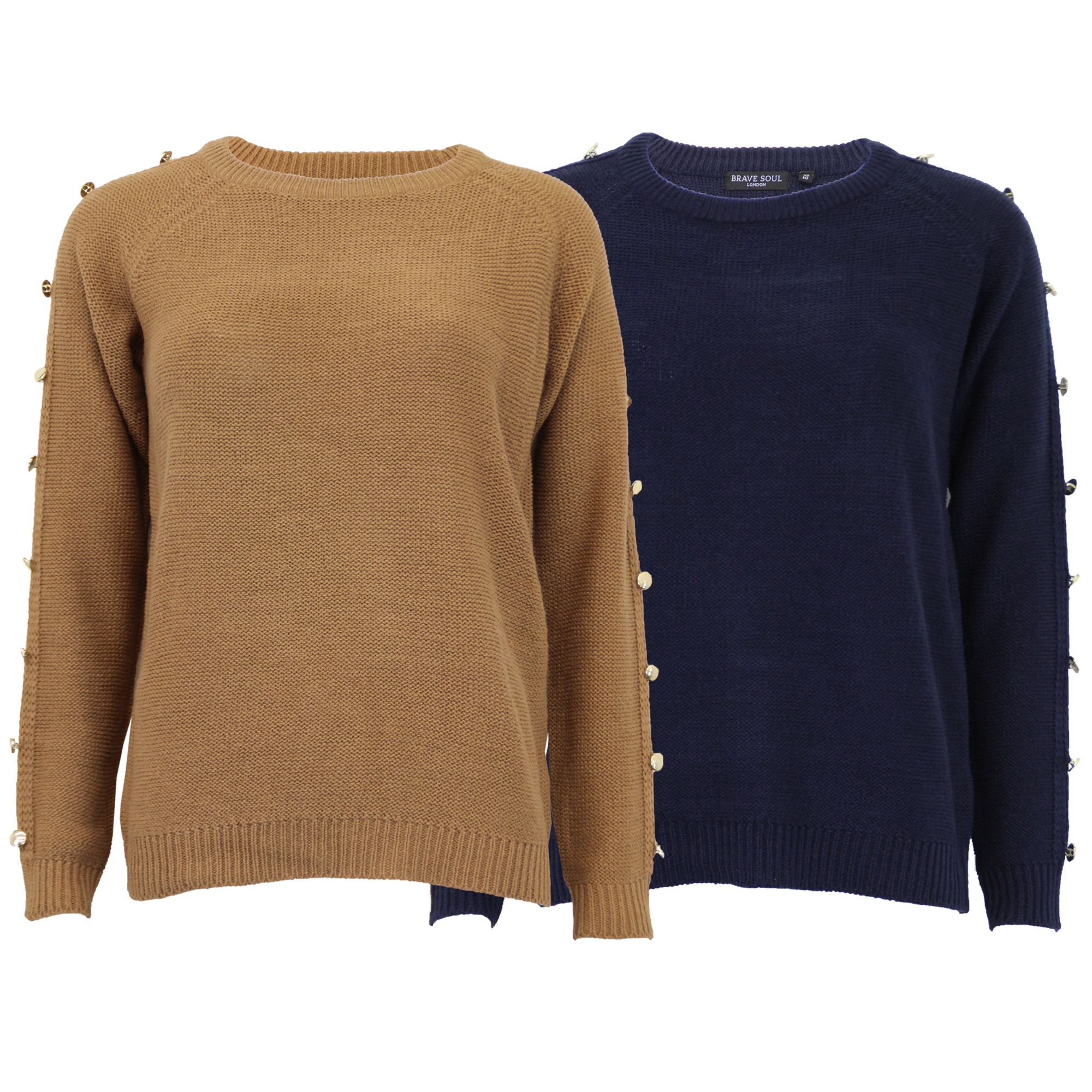 10c43cefe0a Details about Ladies Jumper Brave Soul Womens Knitted Sweater Crew Neck Top  Casual Button New
