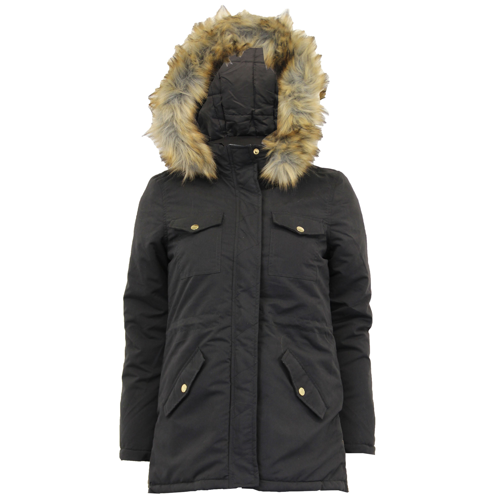 Ladies Parka Jacket Brave Soul Womens Coat Padded Hoodie Fur ...