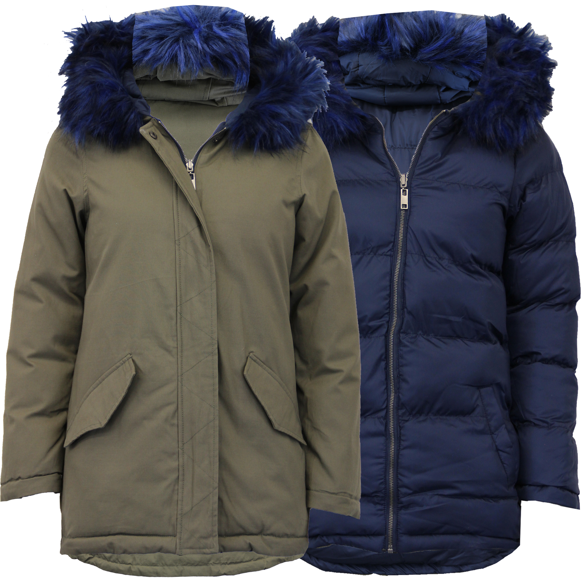 Ladies Parka Jacket Brave Soul Womens Long Reversible Fur Coat ...