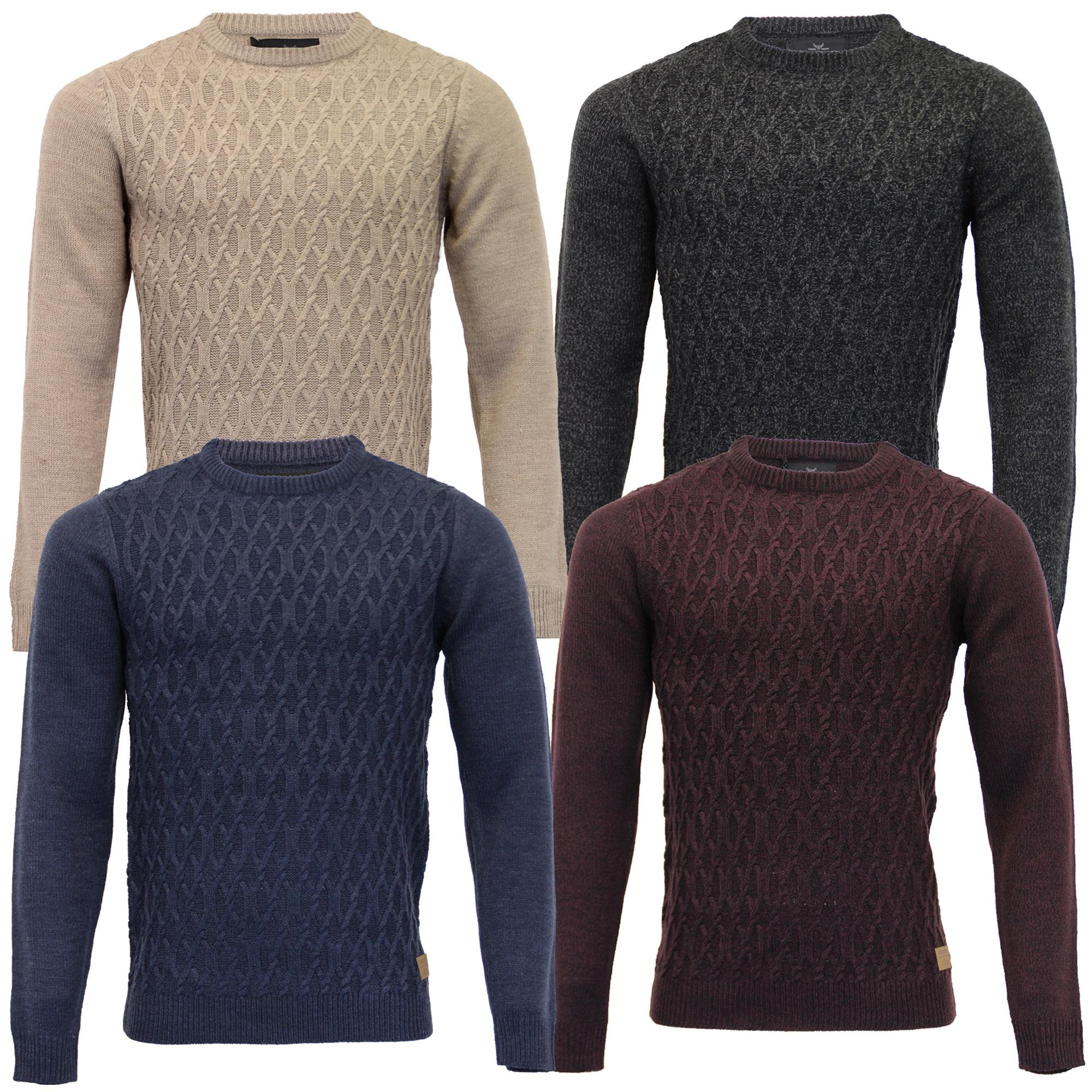 f426ed1d5fbb2e Mens Textured Knit Jumper Threadbare Sweater Pullover Crew Neck ...