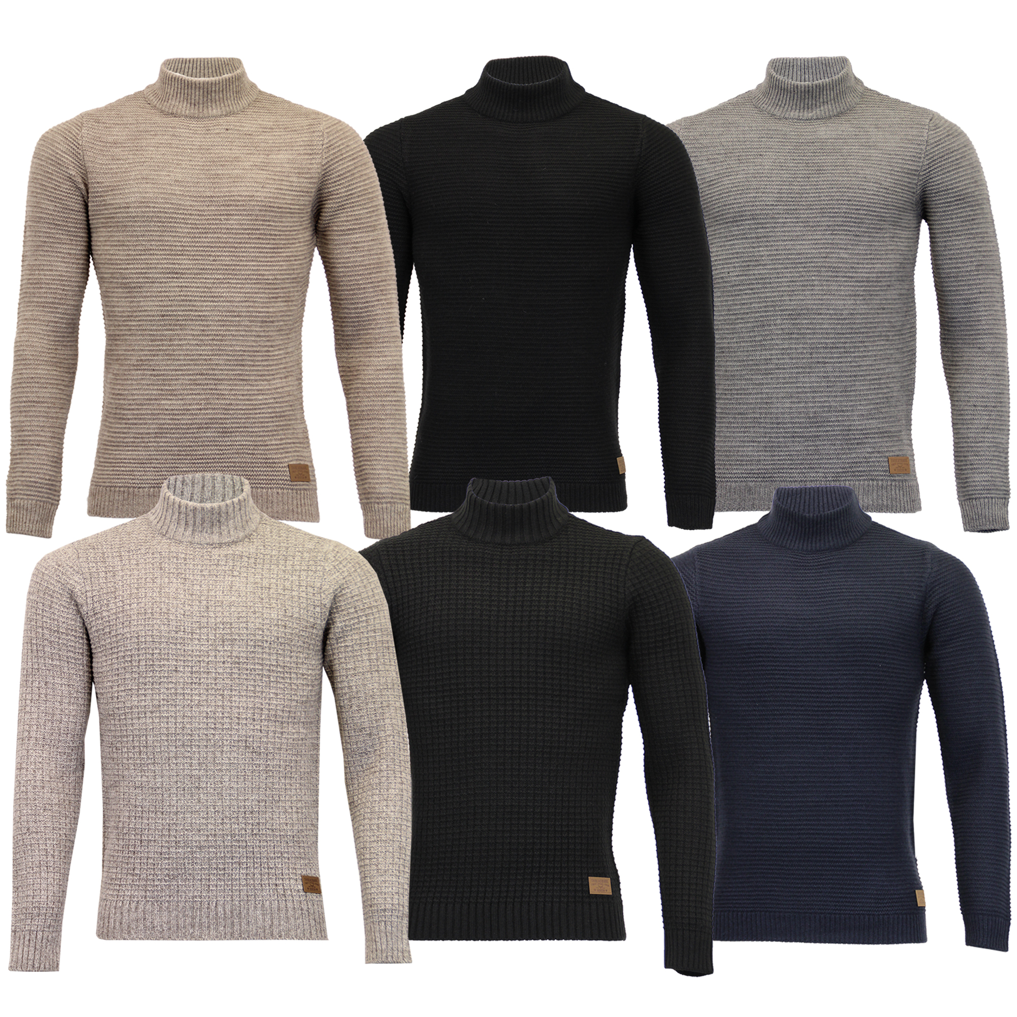 43821d0e65 Details about Mens Polo Neck Wool Mix Jumper Threadbare Knitted Sweater Top  Waffle Winter New