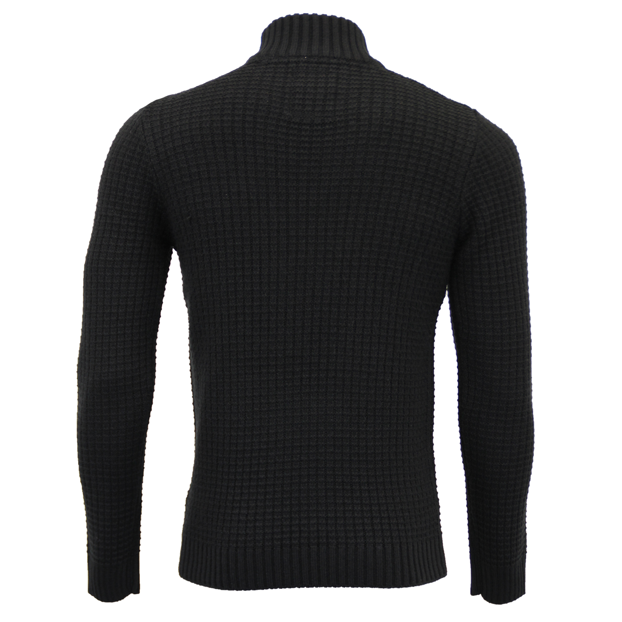 Mens-Polo-Neck-Wool-Mix-Jumper-Threadbare-Knitted-Sweater-Top-Waffle-Winter-New thumbnail 3