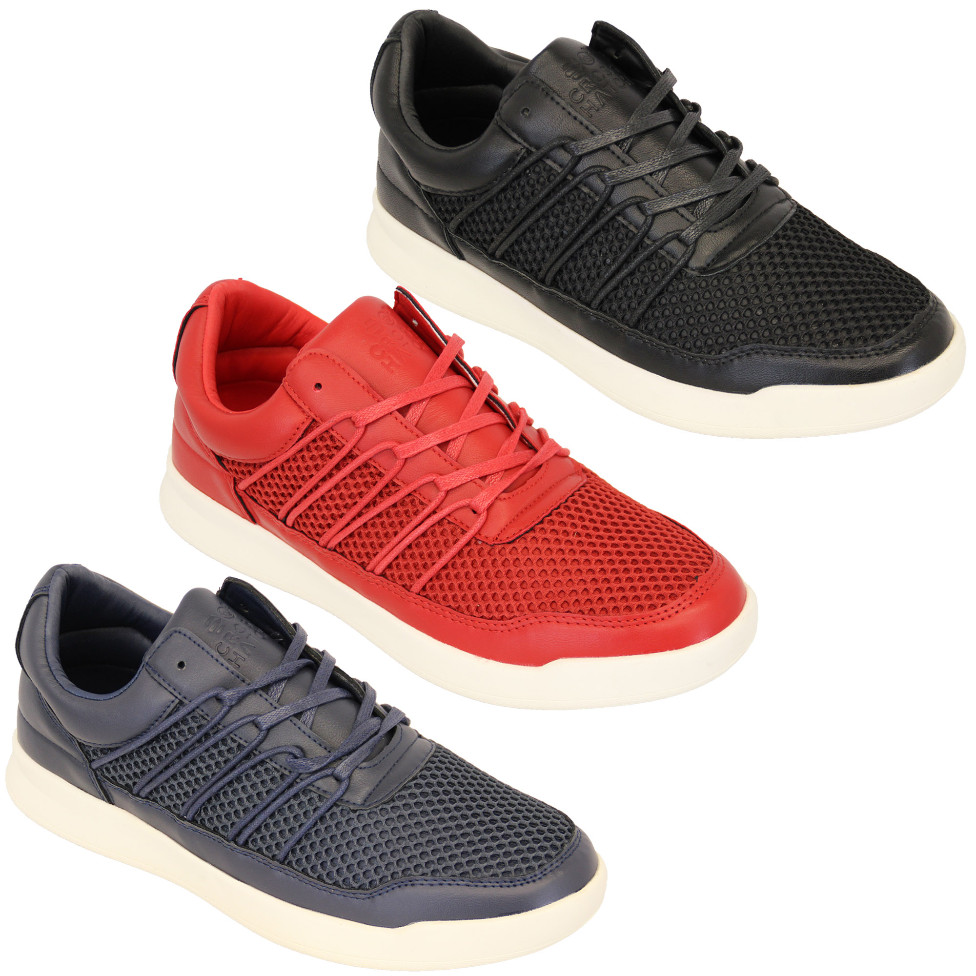 Mens-Trainers-Crosshatch-Jogging-Shoes-Lace-Up-Walking-Running-Sports-Gym-Mesh thumbnail 4