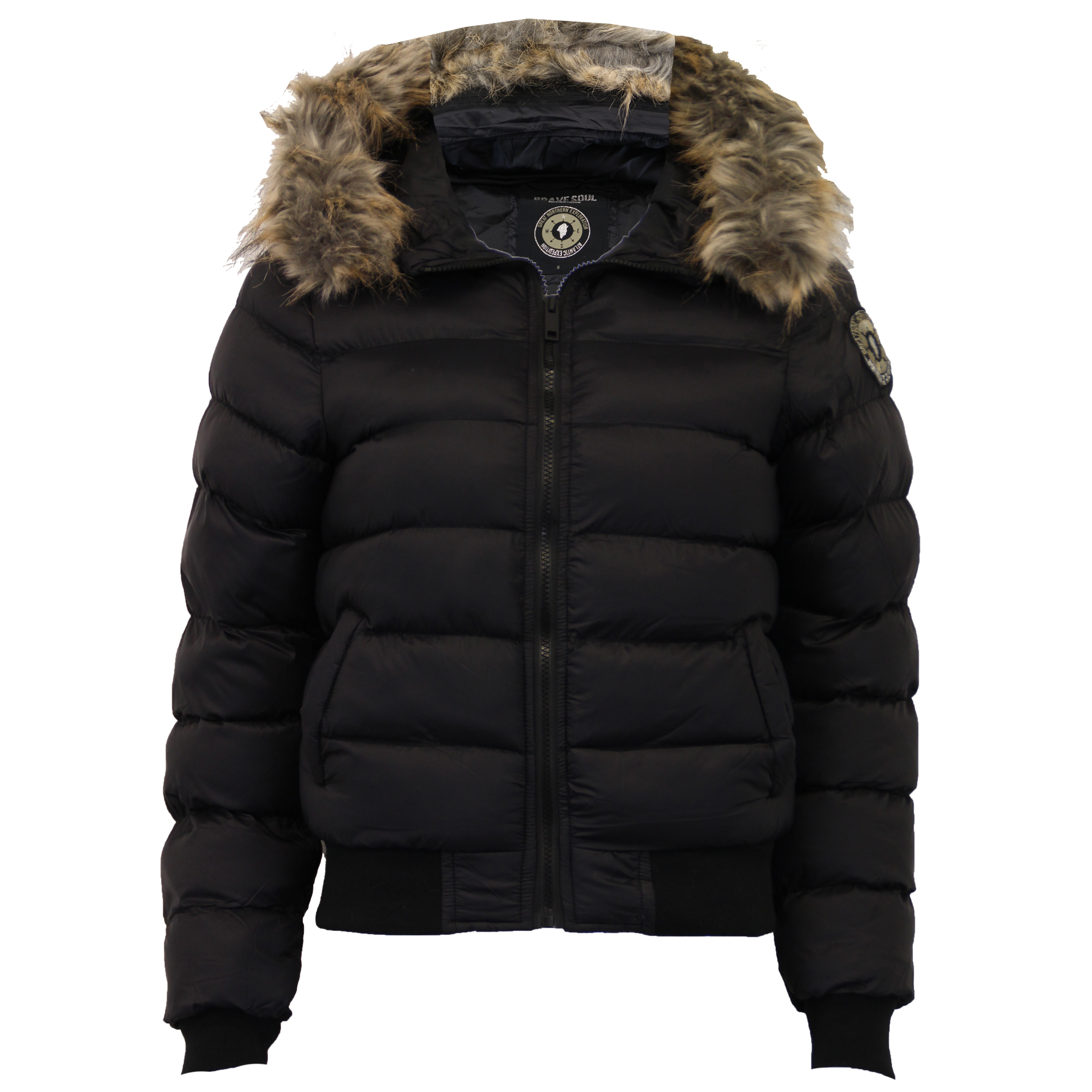 6800fcf236f Details about Ladies Short Bubble Jacket Brave Soul Womens Coat Padded  Bomber Hoodie Fur New