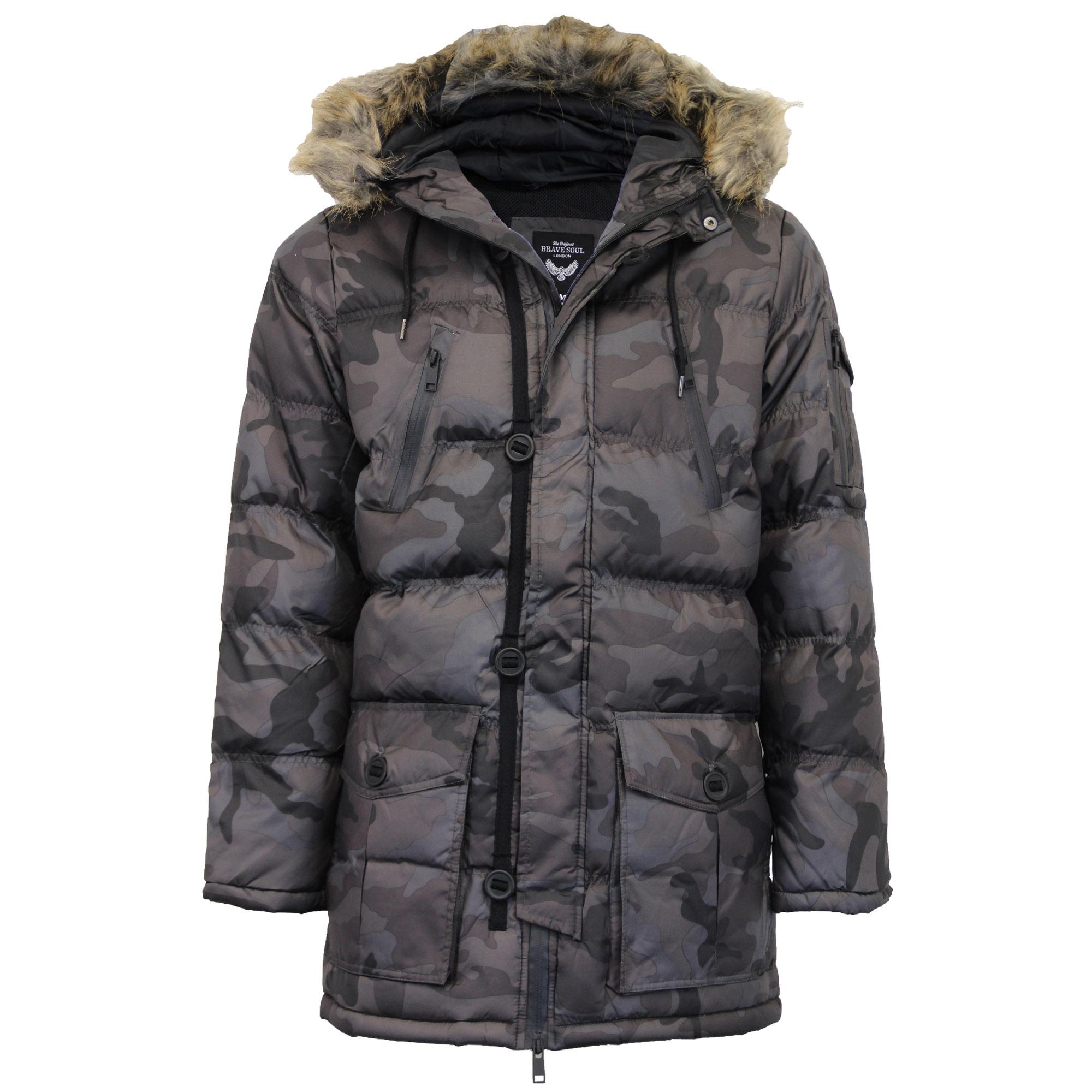 Mens Bubble Parka Jacket Brave Soul Coat Camo Military Hoodie Fur ...