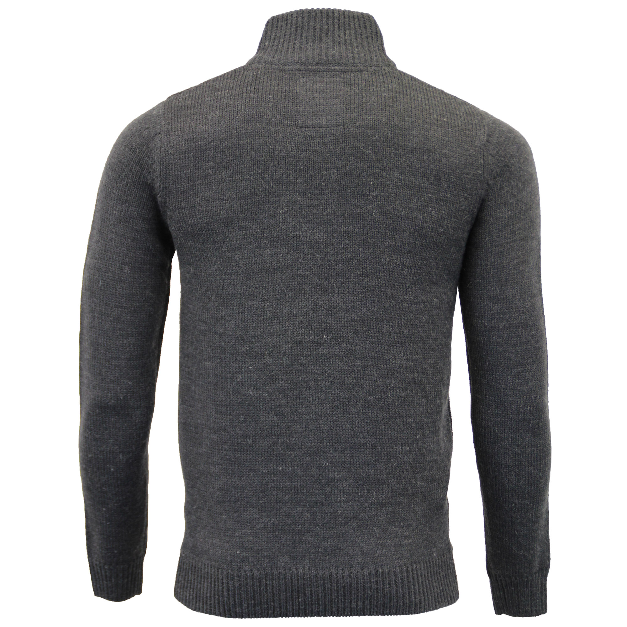 Mens-Wool-Mix-Jumper-Threadbare-Knitted-Sweater-Pullover-Top-Chunky-Zip-Winter thumbnail 3