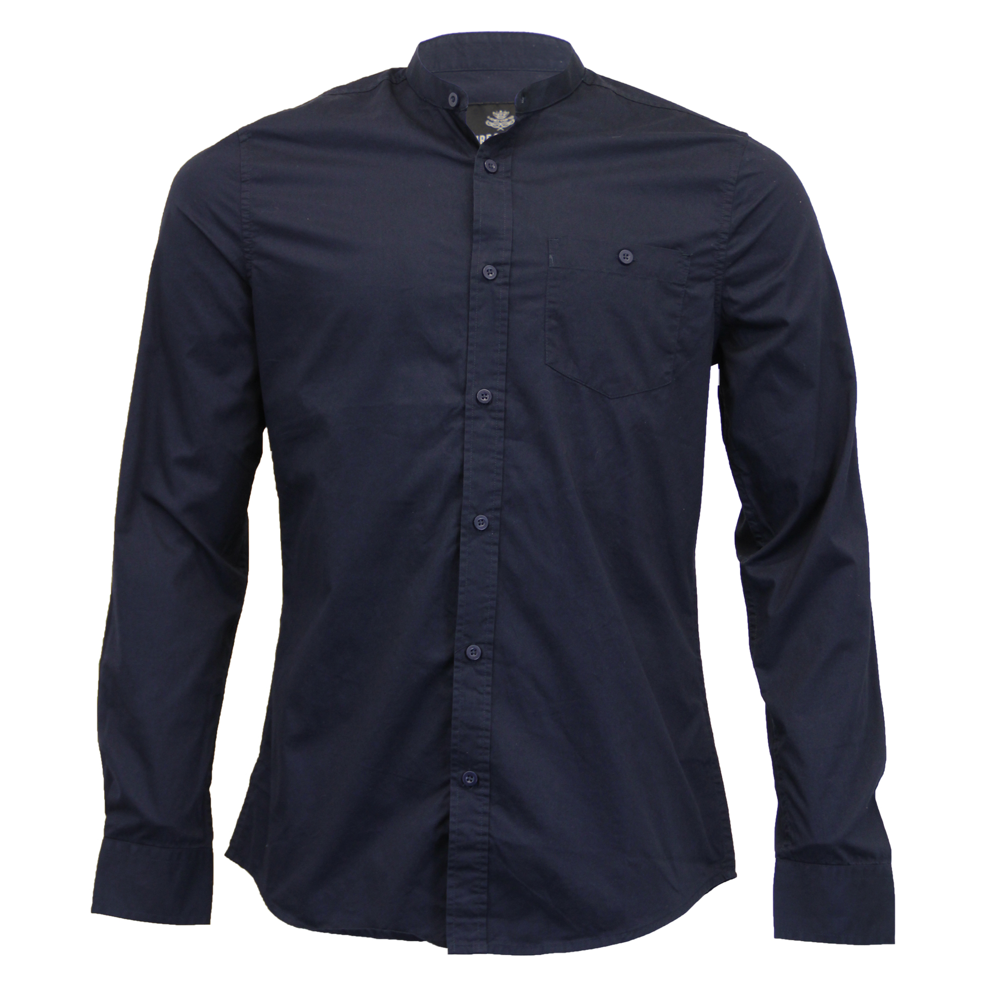 Mens linen cotton shirt threadbare grandad collar long for Mens long sleeve casual cotton shirts
