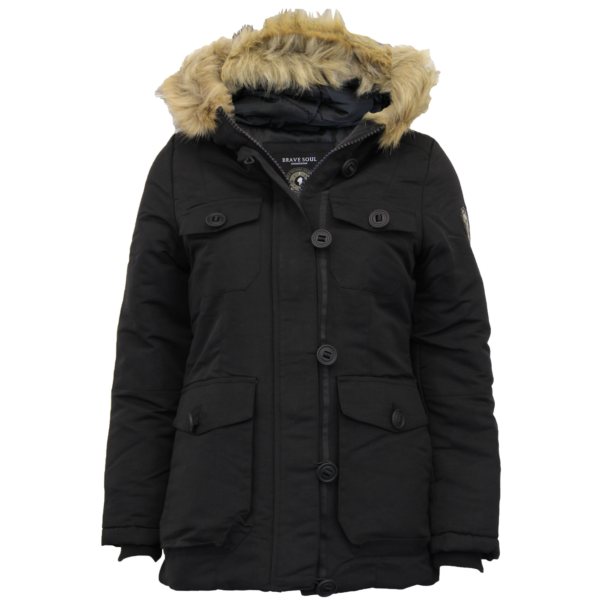 Ladies Parka Jacket Brave Soul Womens Coat Padded Quilted Hoodie ...