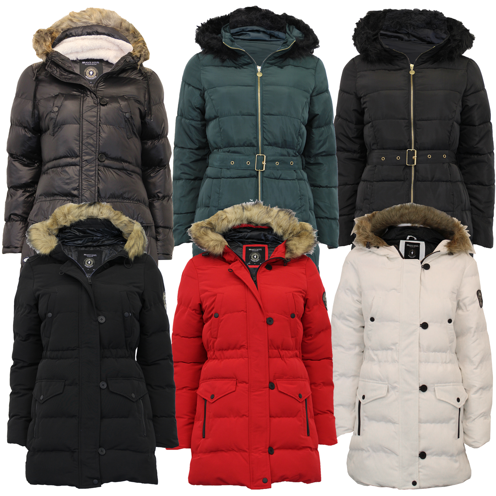 11a7e67ad Details about Ladies Long Parka Jacket Brave Soul Womens Coat Padded Bubble  Hoodie Quilted New