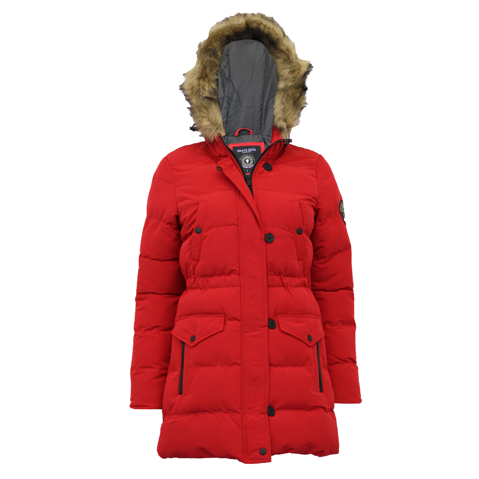 2c4f3270b5b Details about Ladies Long Parka Jacket Brave Soul Womens Coat Padded Bubble  Hoodie Quilted New