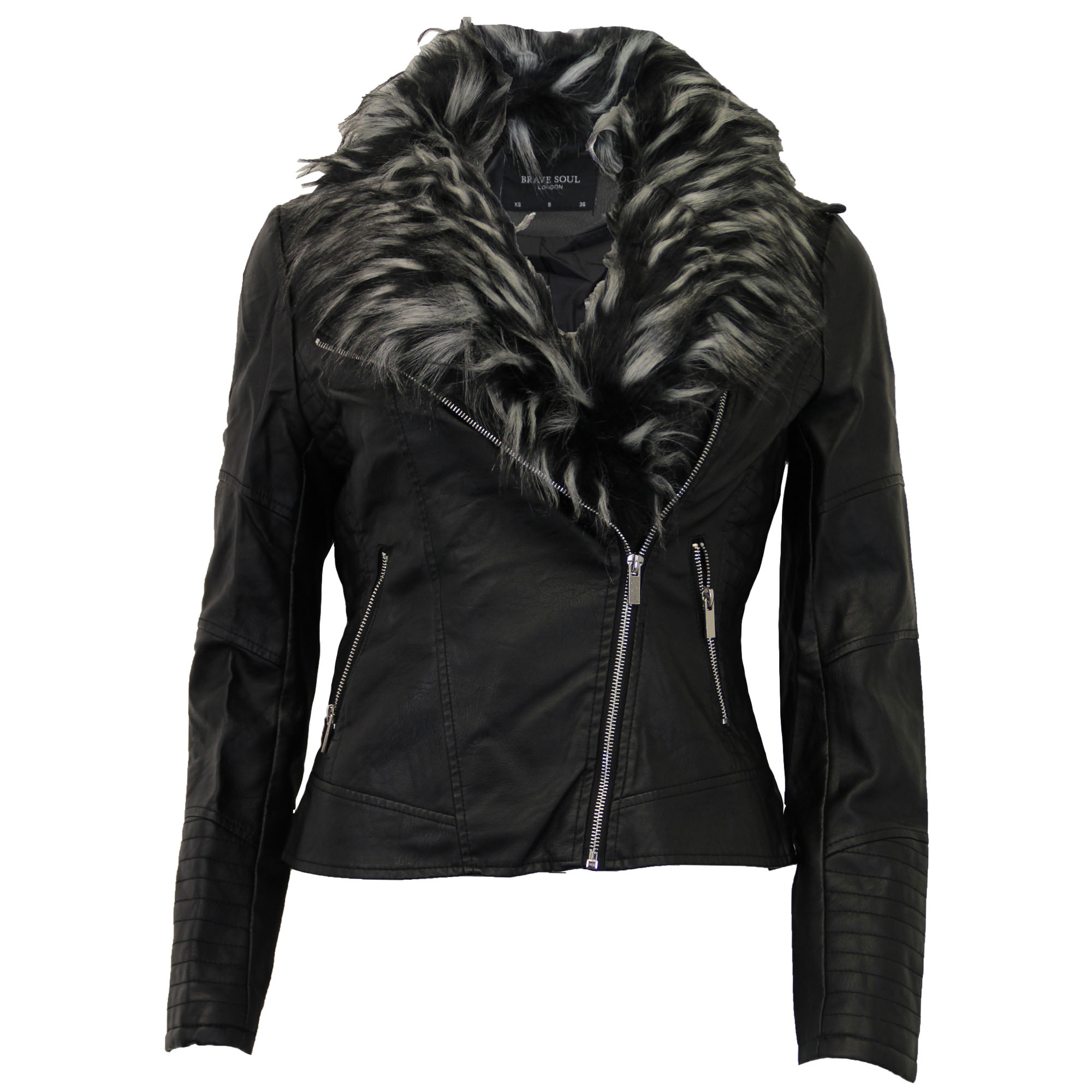 Ladies-Biker-Jacket-Brave-Soul-Womens-Coat-Zip-Fur-Leather-Look-Bomber-Fashion