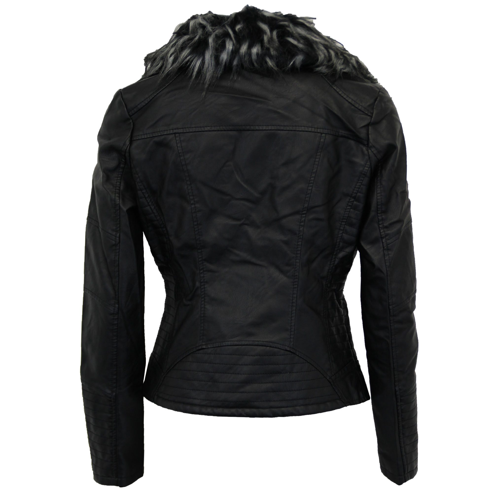 Ladies-Biker-Jacket-Brave-Soul-Womens-Coat-Zip-Fur-Leather-Look-Bomber-Fashion