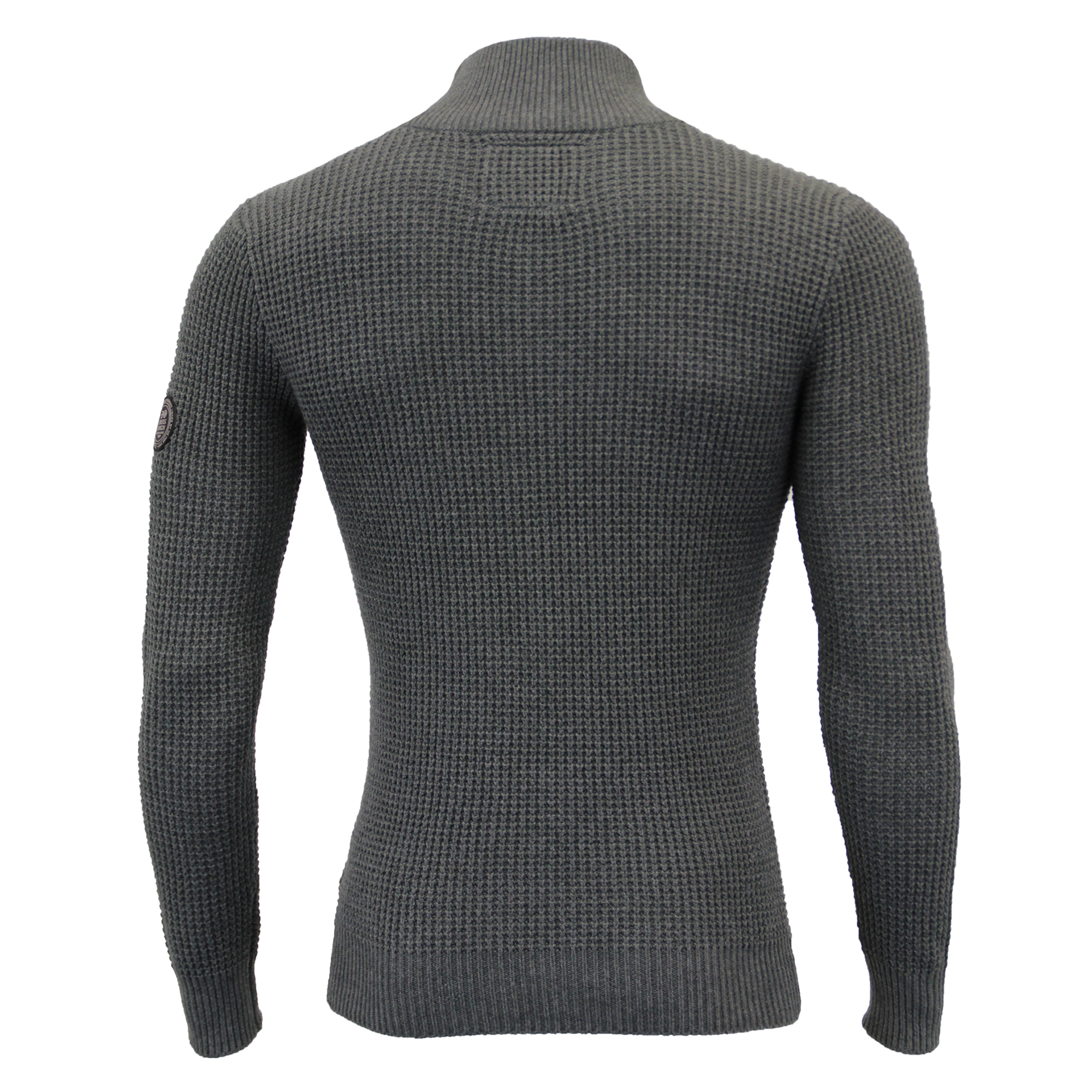 Mens-Knitted-Cotton-Crosshatch-Jumper-Sweater-Pullover-Waffle-Top-Zip-Winter-New thumbnail 8