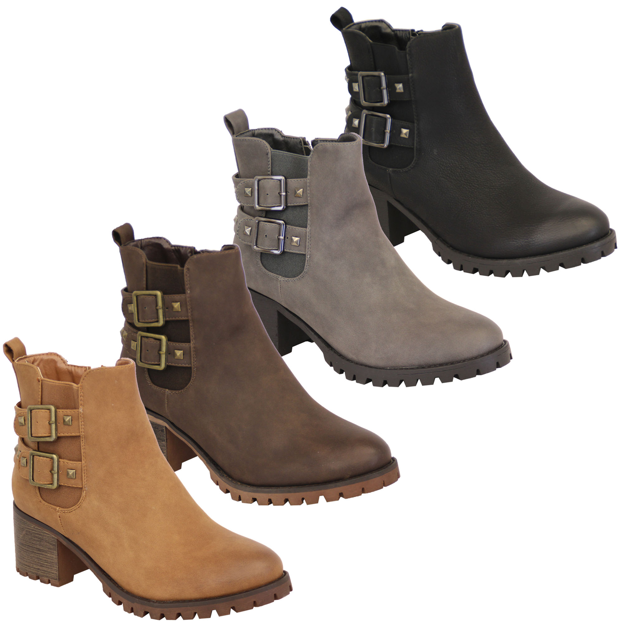 high quality performance sportswear cheapest Ladies Chelsea Boots Womens Biker Stud Heel High Top Ankle Zip ...