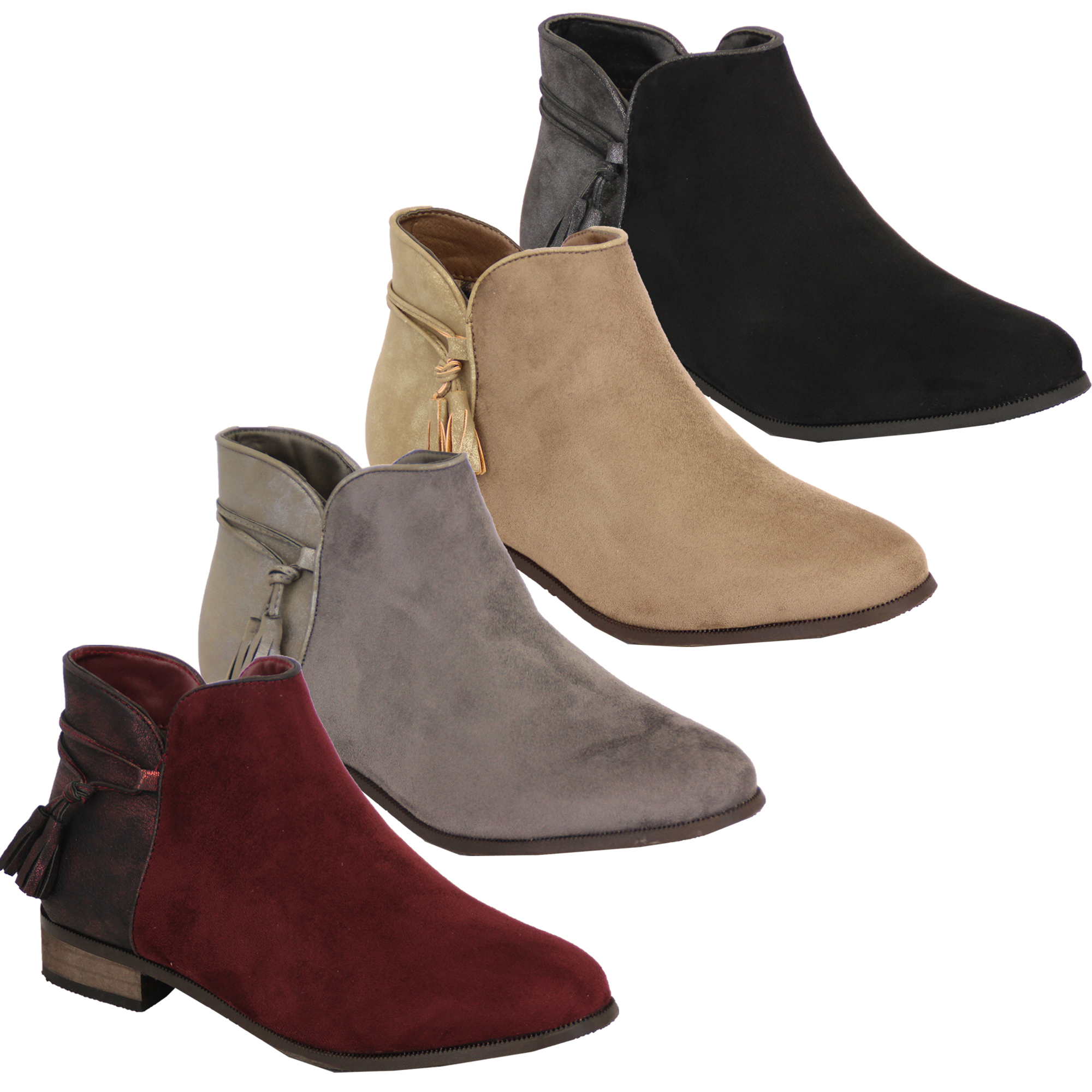 Ladies Chelsea Boots Womens Suede Look Shoes Ankle Zip Tassel Low ... 15f6c69673f8