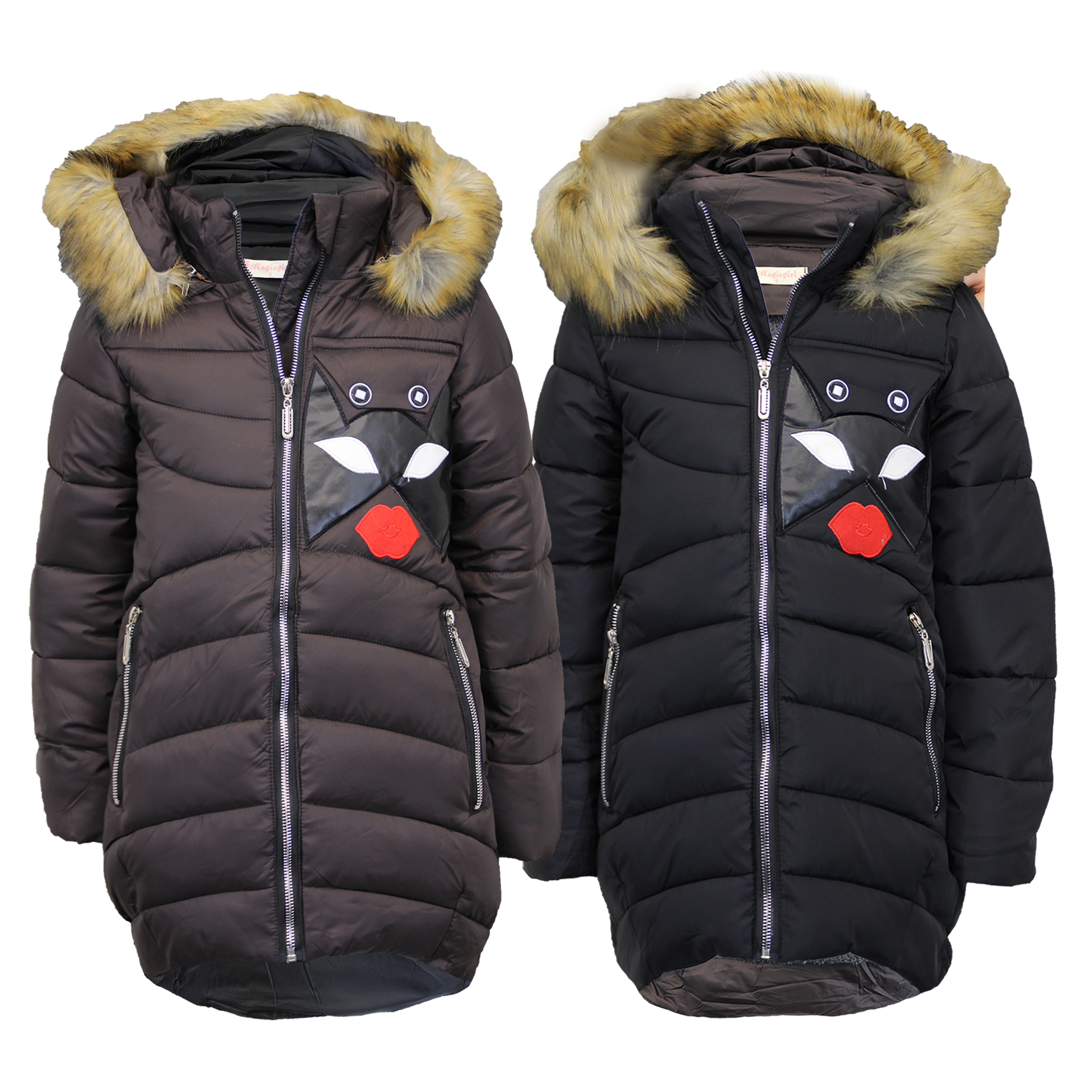 ea96be88 Girls Parka Jacket Kids Padded Quilted Hoodie Fur Lined Coat Puffer ...
