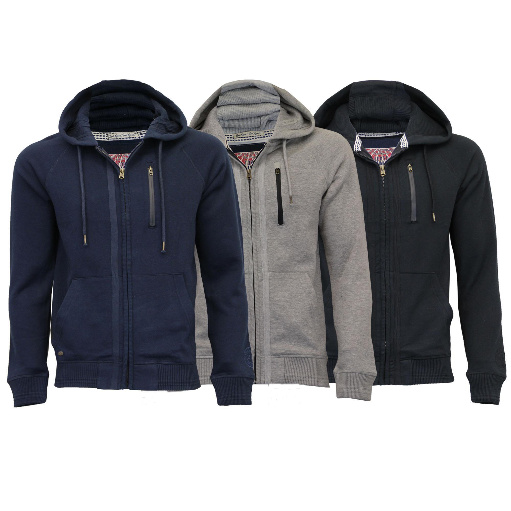 Mens-Sweatshirt-Tokyo-Laundry-Jacket-Hoodie-Top-Fleece-Lined-Casual-Winter-New thumbnail 5