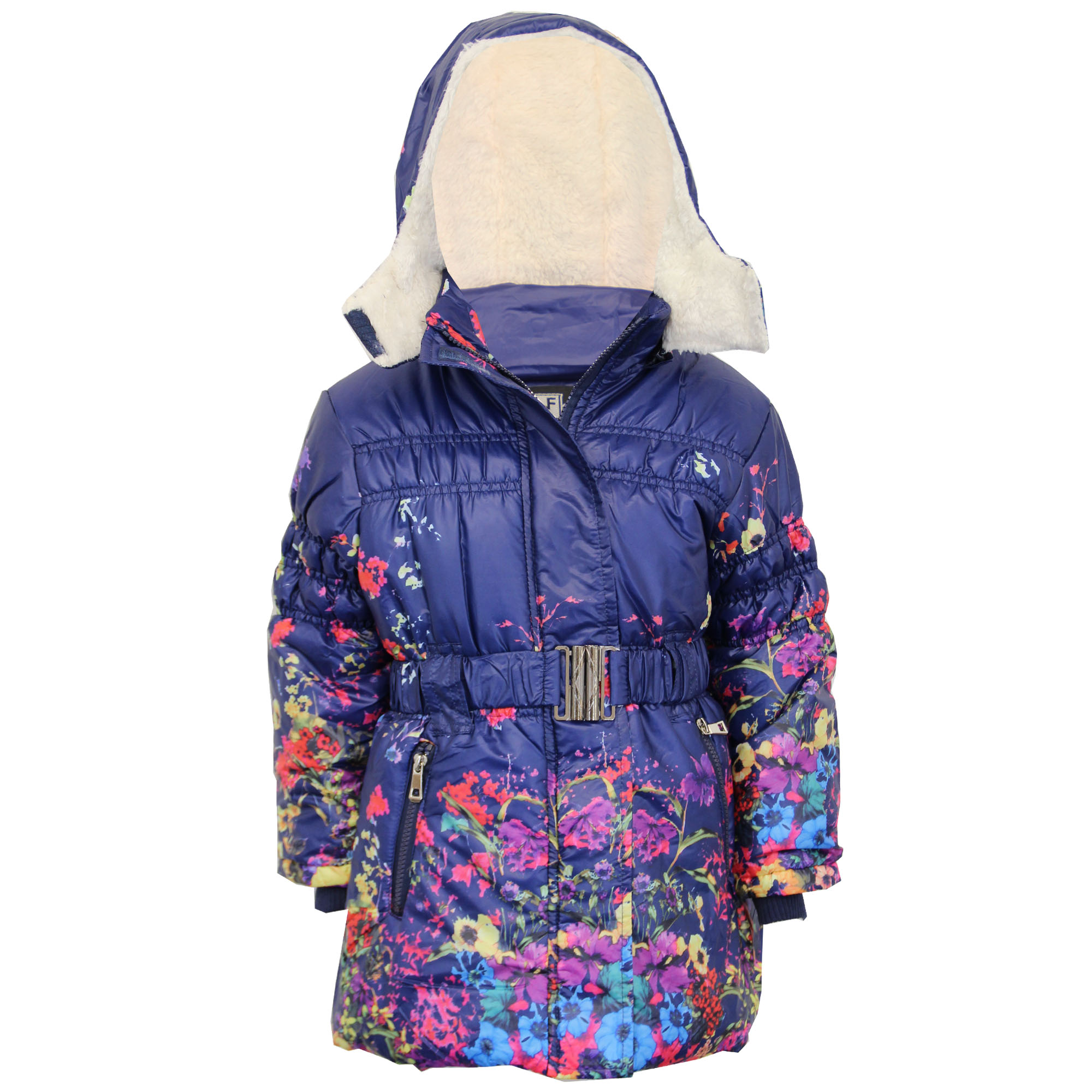 Girls Padded Jacket Kids Coat Quilted Polka Dot Hooded Sherpa ...