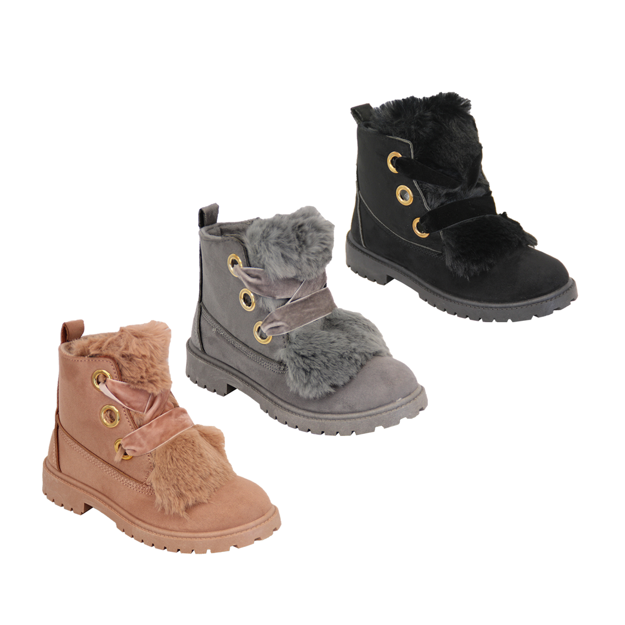 Details about Girls Suede Look Boots Toddlers Fluffy Fur Low Heel Lace Up  Ankle Shoes Winter