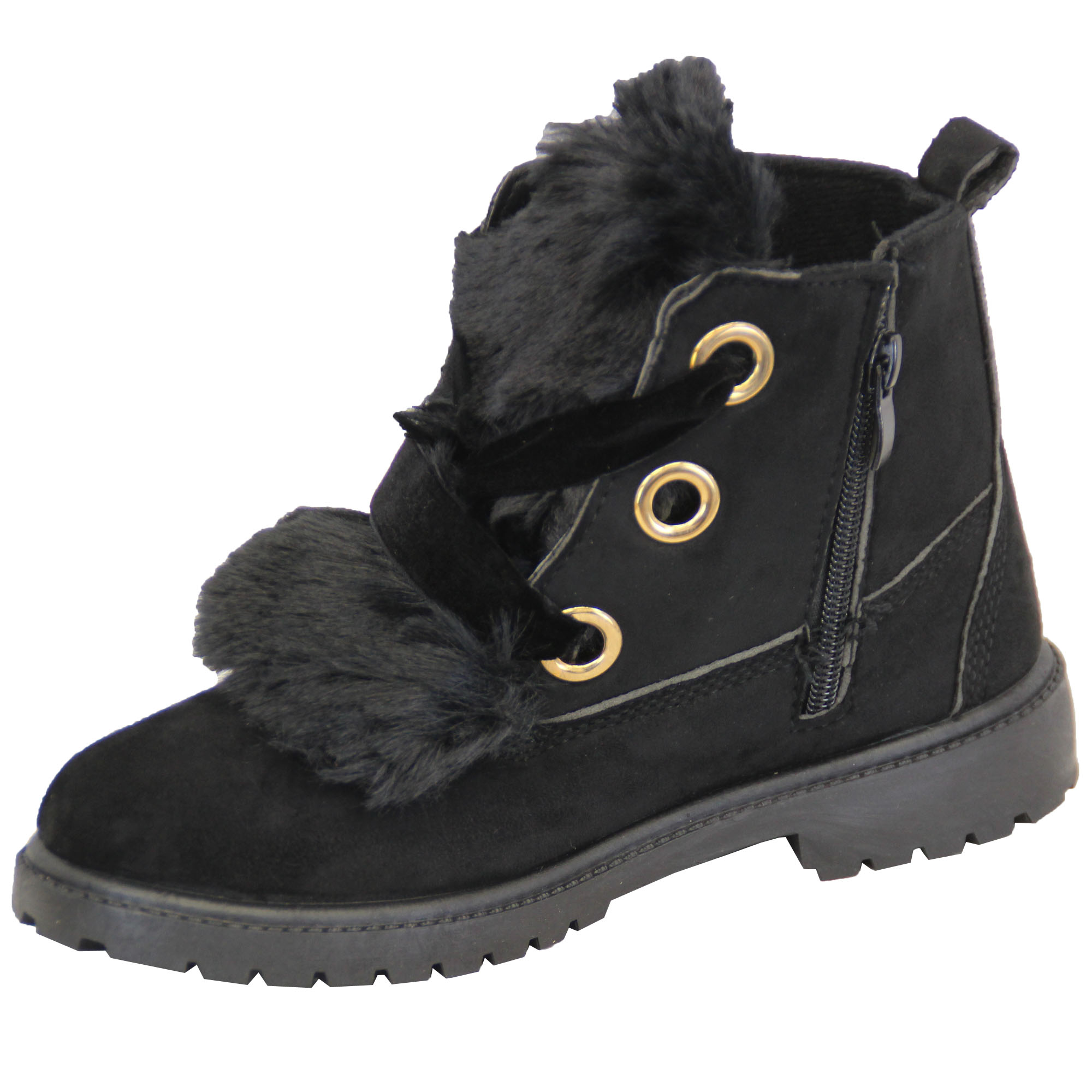Girls-Suede-Look-Boots-Toddlers-Fluffy-Fur-Low-Heel-Lace-Up-Ankle-Shoes-Winter