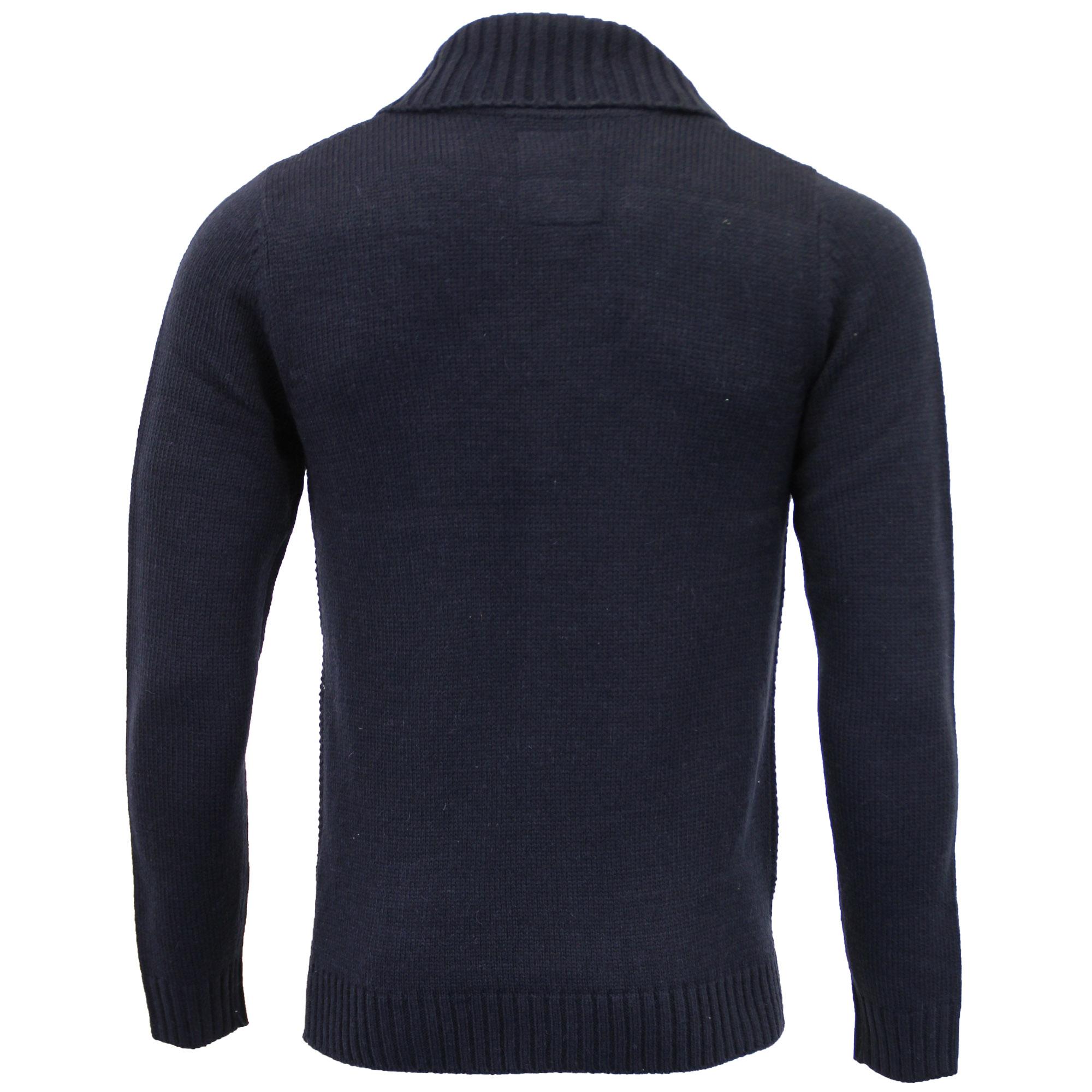 Mens-Wool-Mix-Cardigans-Threadbare-Knitted-Sweater-Broken-Standard-Shawl-Winter thumbnail 6