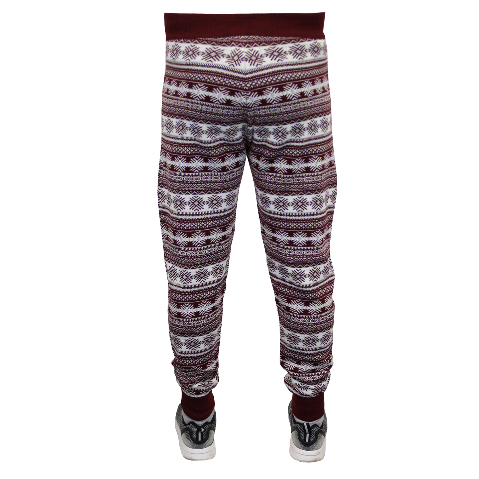 Mens Christmas Bottoms Threadbare Xmas Knitted Snowflake Print Trouser Novelty