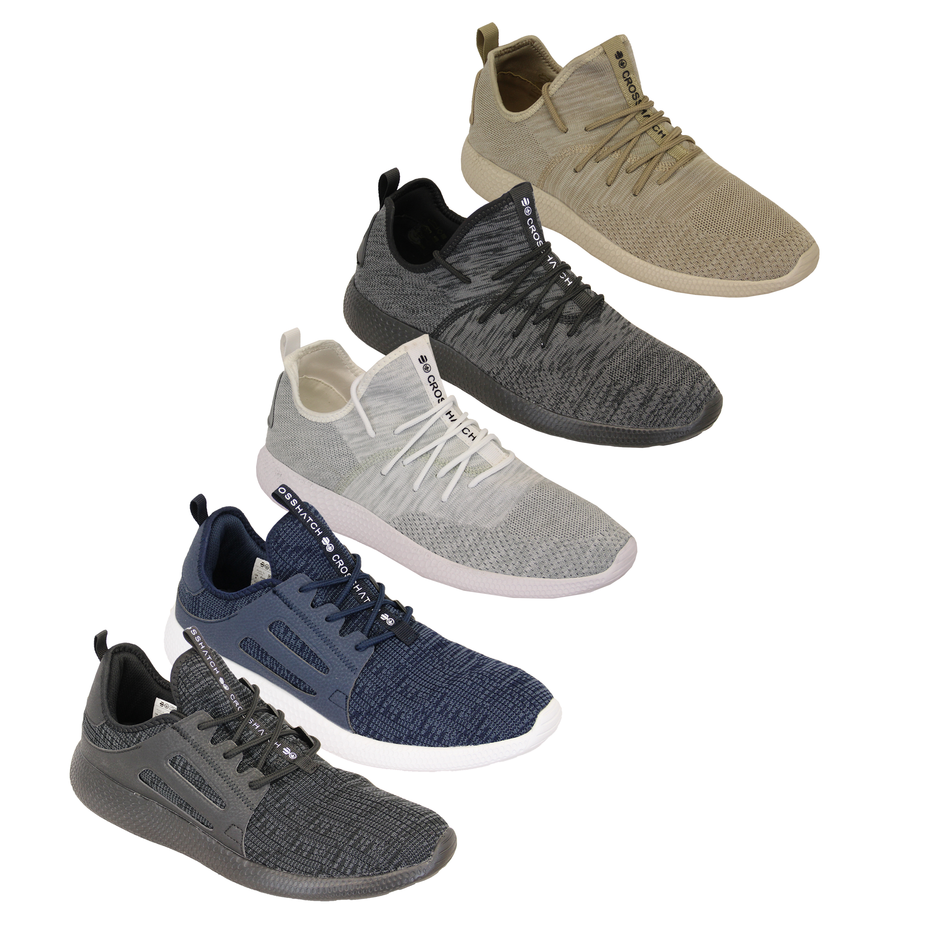 Mens-Trainers-Crosshatch-Jogging-Shoes-Lace-Up-Walking-Running-Sports-Gym-New thumbnail 5