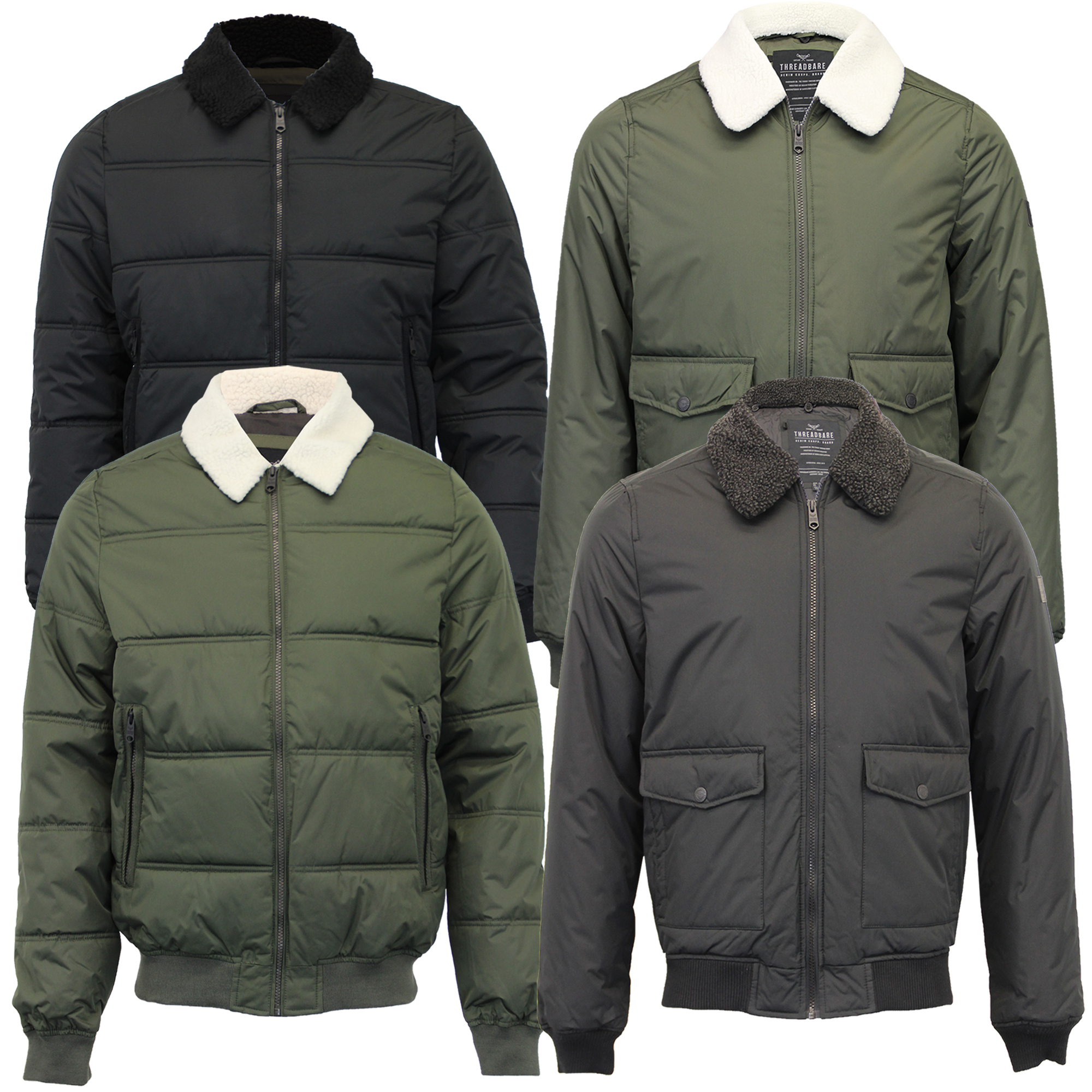 Mens Wool Mix Jacket Threadbare Double Breasted Coat Sherpa Fleece Collar Lined