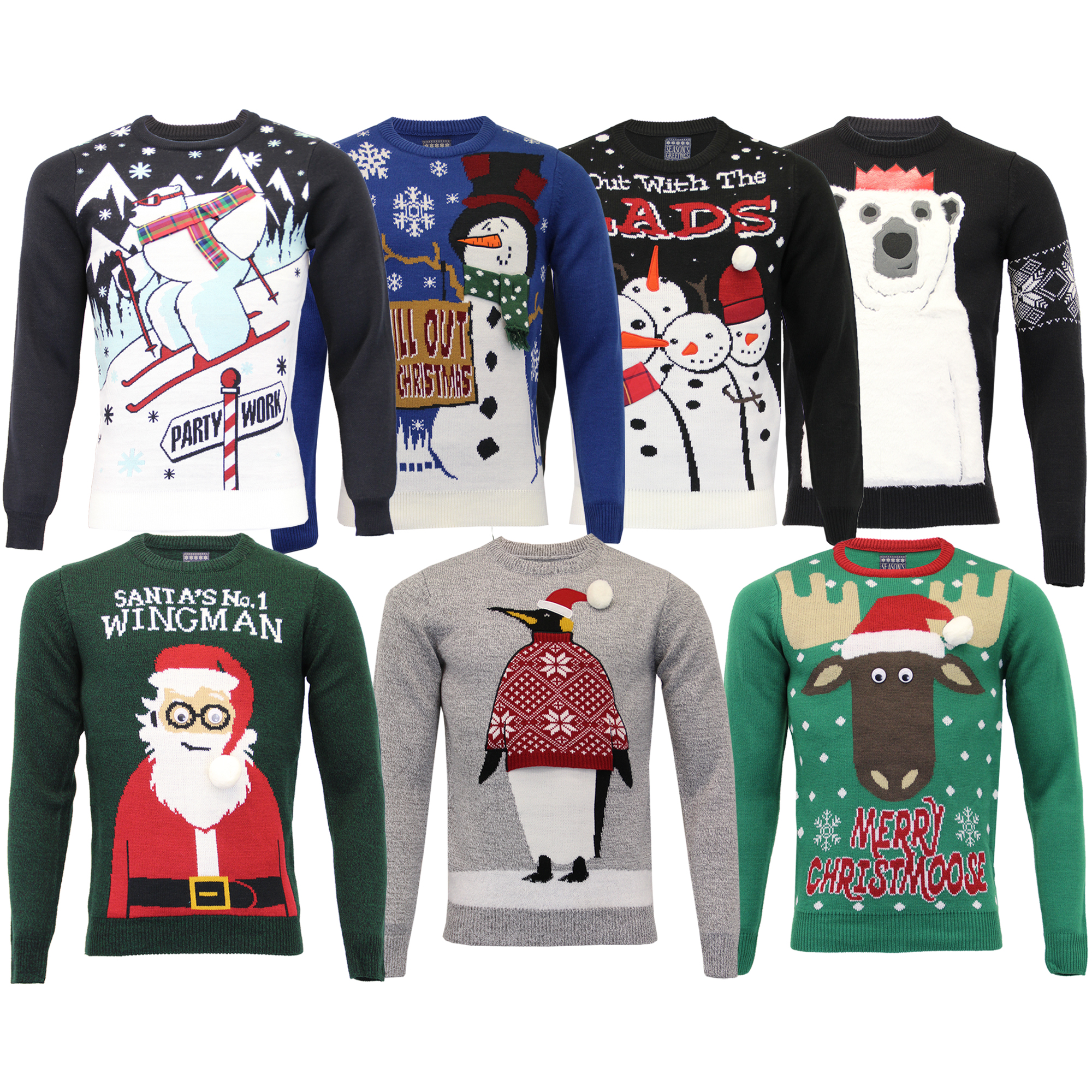 sneakers for cheap hot-selling wide selection Details about Mens Xmas Christmas Jumper Knitted 3D Novelty Santa Penguin  Snowman Sweater Top
