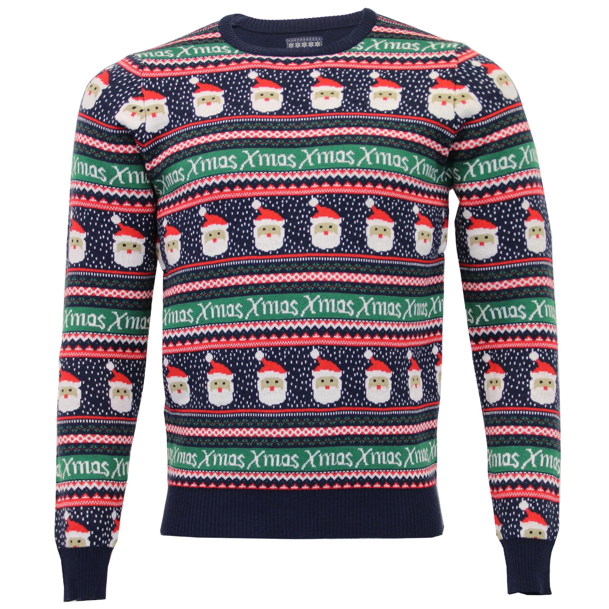 l'atteggiamento migliore 71119 14e5e Dettagli su Uomo Natale Fair Isle Maglione Seasons Greetings Novità Babbo  Natale Pom Pom
