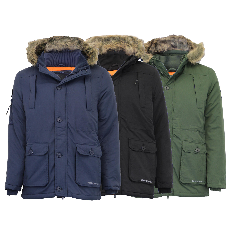 Mens Parka Jacket Crosshatch Coat Hoodie Padded Faux Fur Zip Winter Lined New
