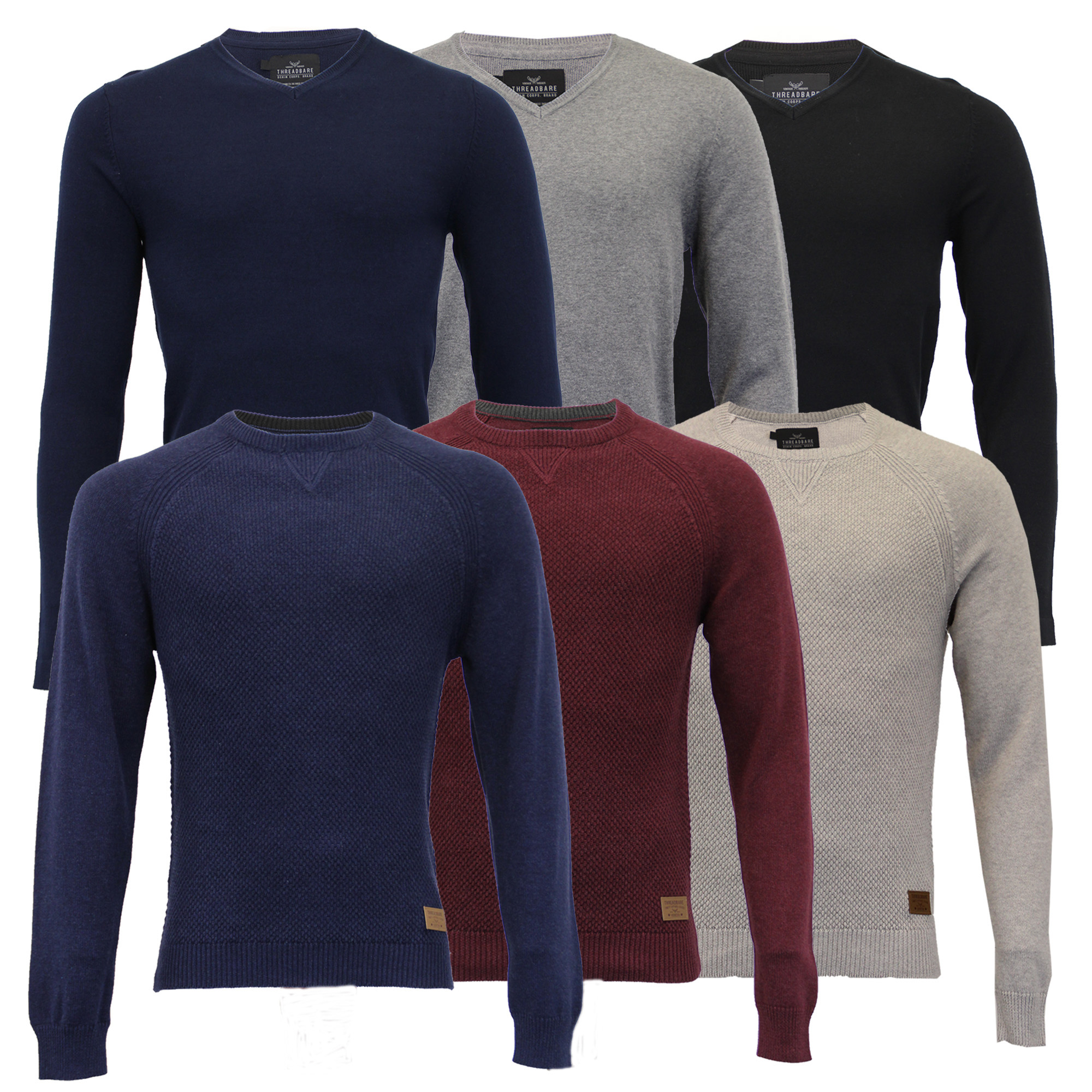 Mens-Jumper-Threadbare-Knitted-Cotton-Sweater-Half-Zip-Pullover-Top-Winter-New thumbnail 4