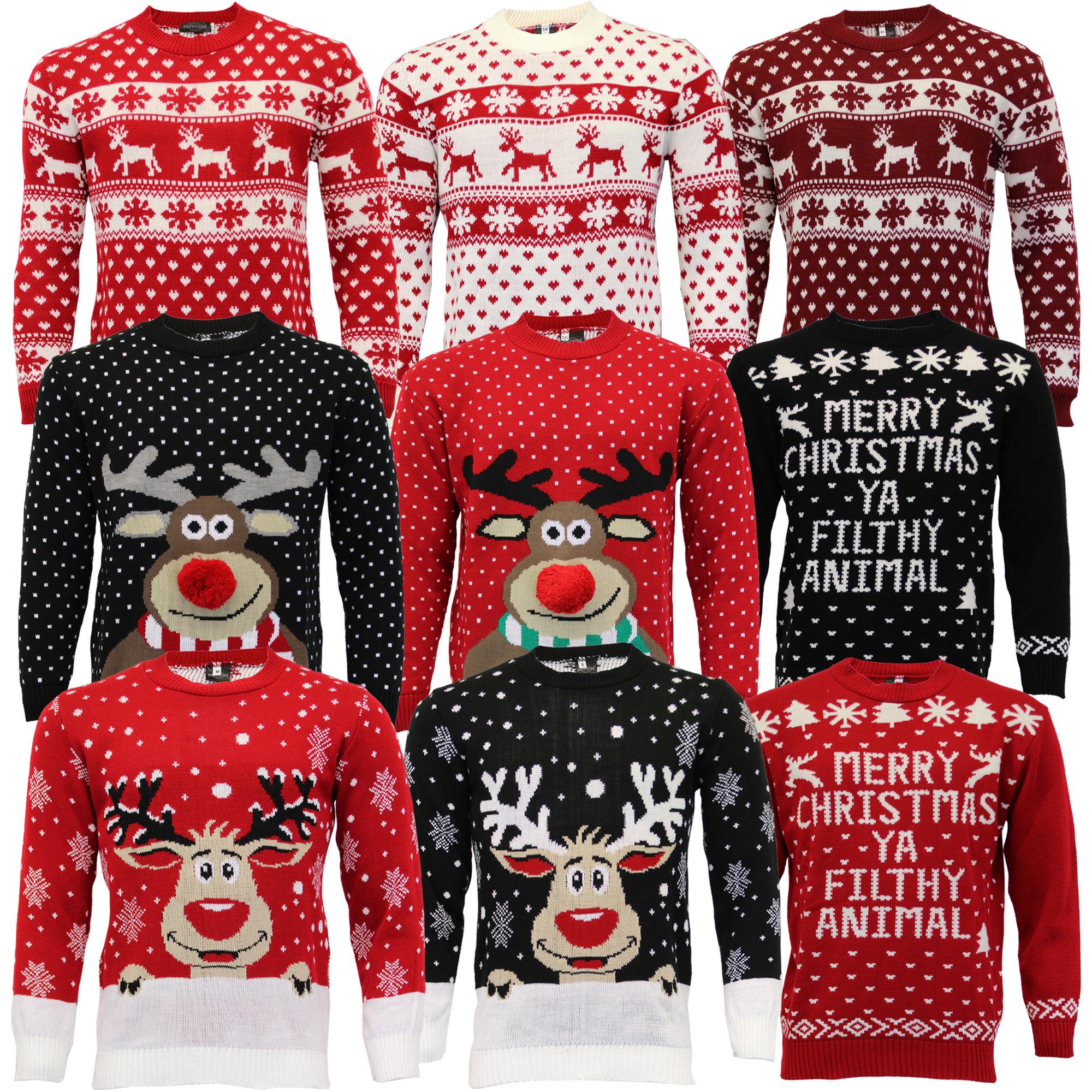 Jersey-Para-Hombre-Damas-Navidad-Navidad-Rudolf-Reno-Pom-Pom-Novedad-De-Punto-De-Invierno miniatura 4