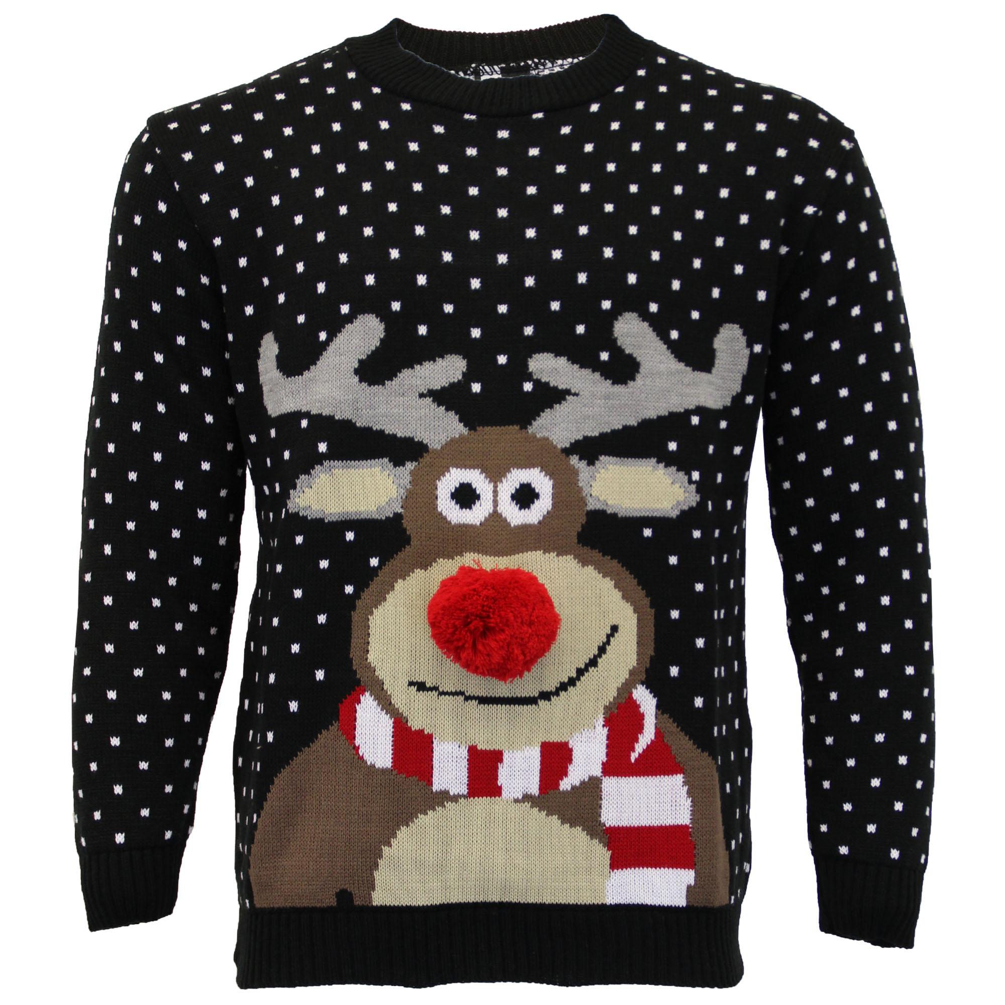 Jersey-Para-Hombre-Damas-Navidad-Navidad-Rudolf-Reno-Pom-Pom-Novedad-De-Punto-De-Invierno miniatura 5