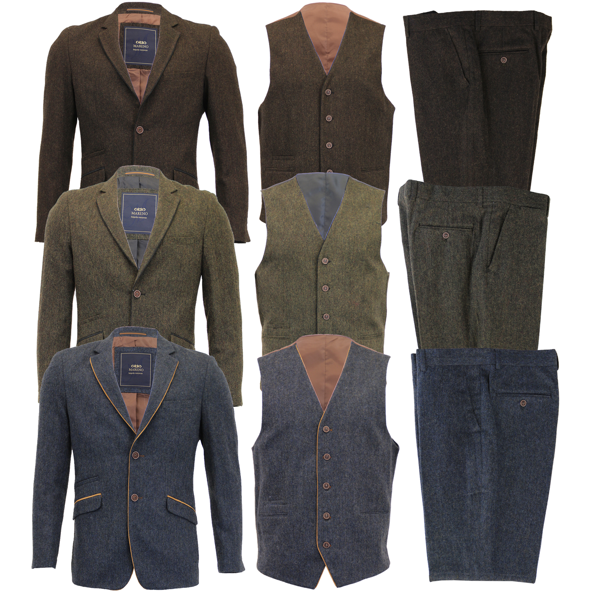 Mezcla-de-lana-para-hombre-3-piezas-trajes-mareno-Blazer-Chaqueta-pantalones-chaleco-Fiesta-Formal miniatura 5
