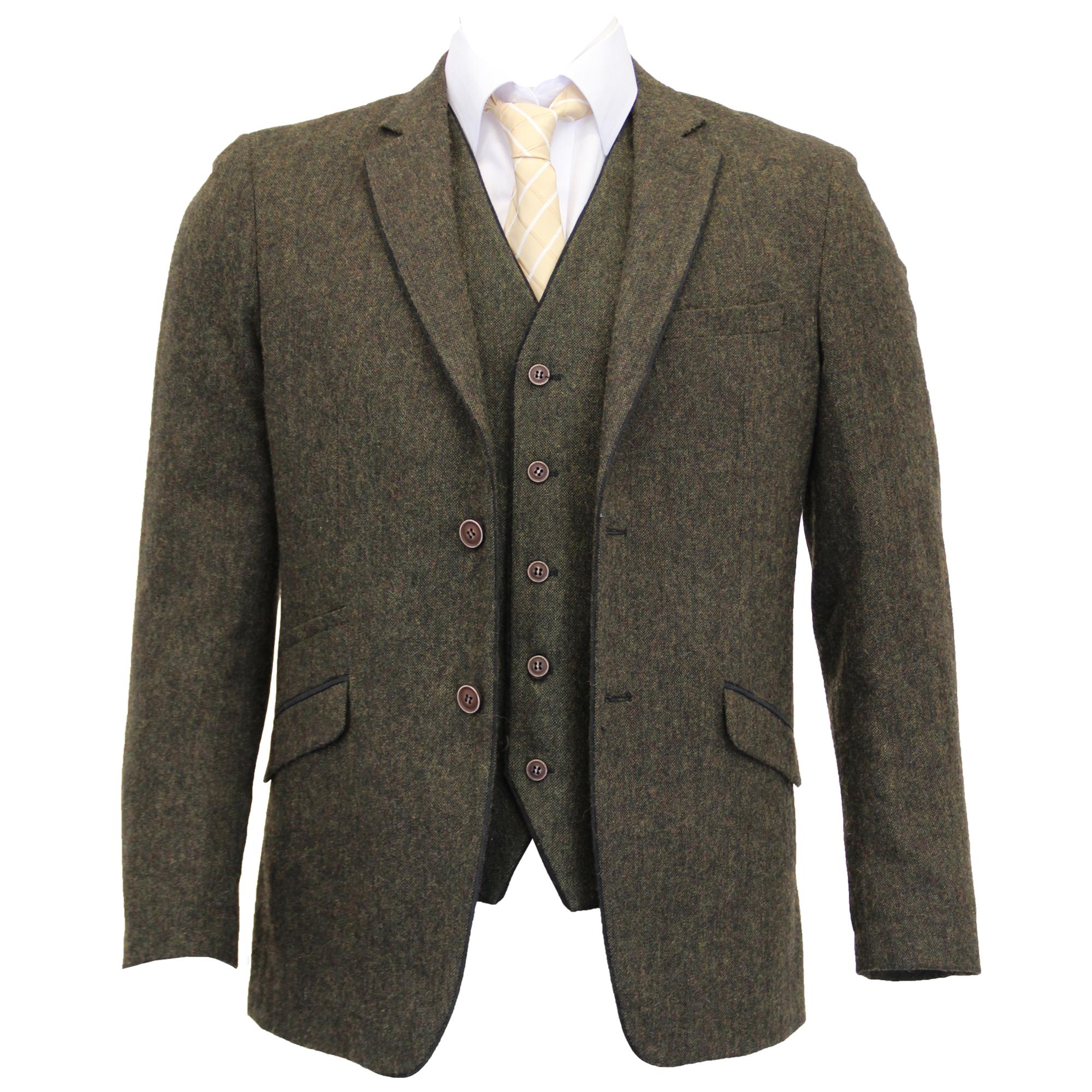 Mezcla-de-lana-para-hombre-3-piezas-trajes-mareno-Blazer-Chaqueta-pantalones-chaleco-Fiesta-Formal miniatura 16