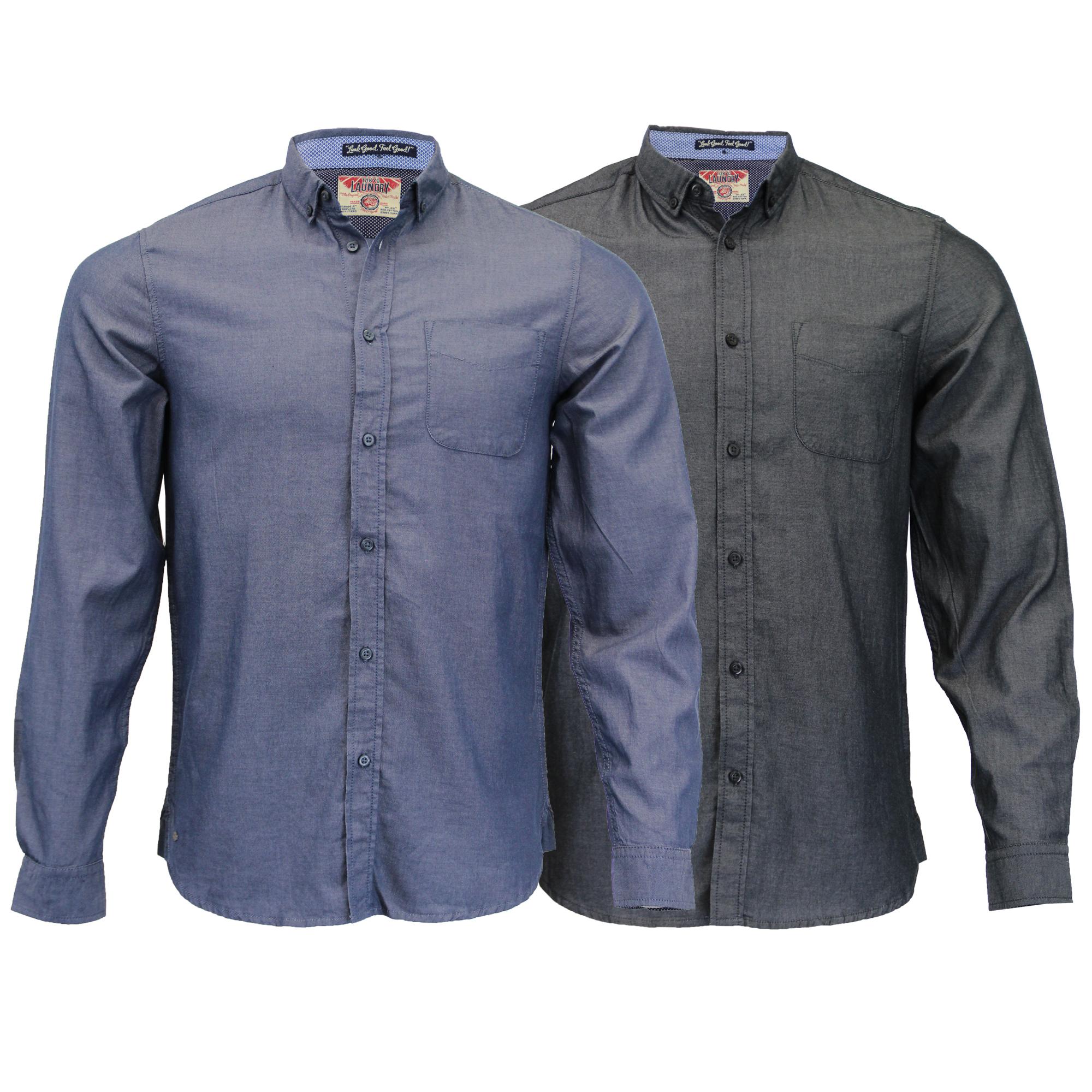 Herren-Baumwolle-Oxford-Twill-Shirt-Tokyo-Laundry-Top-Langarm-Freizeit-Designer Indexbild 5